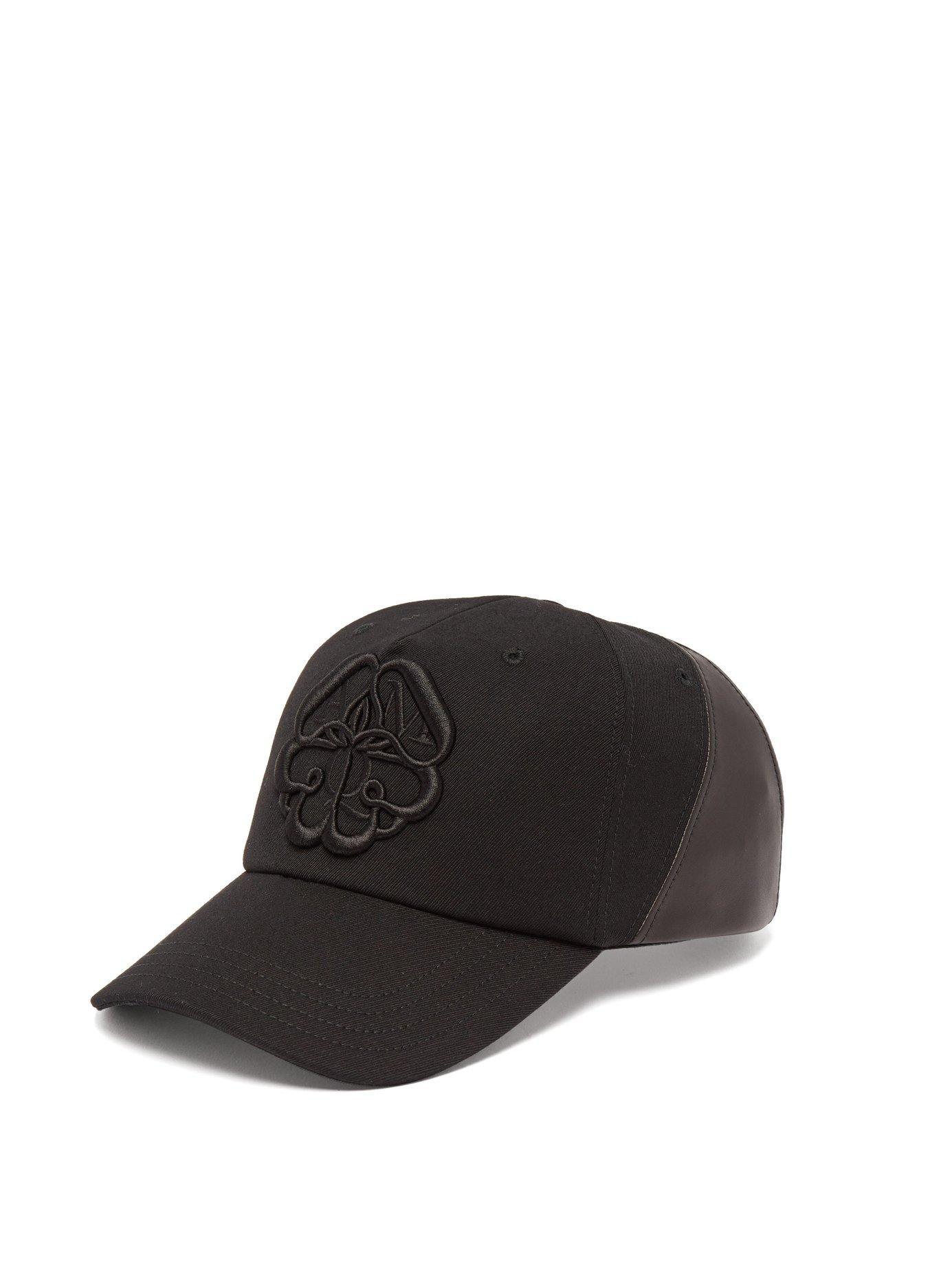 5205200b359 Alexander McQueen. Men s Black Logo Embroidered Lather Panelled Cotton Cap