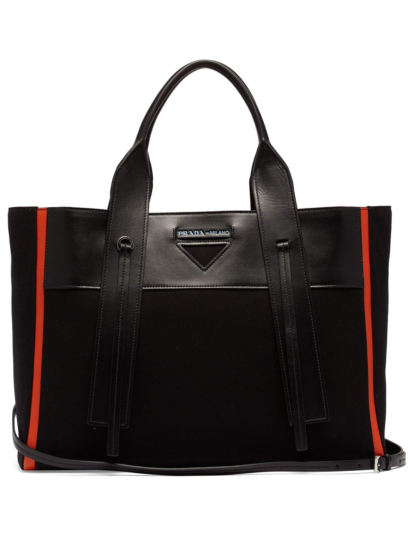 9ea4ec188a Lyst - Prada Ouverture Canvas And Leather Tote in Black