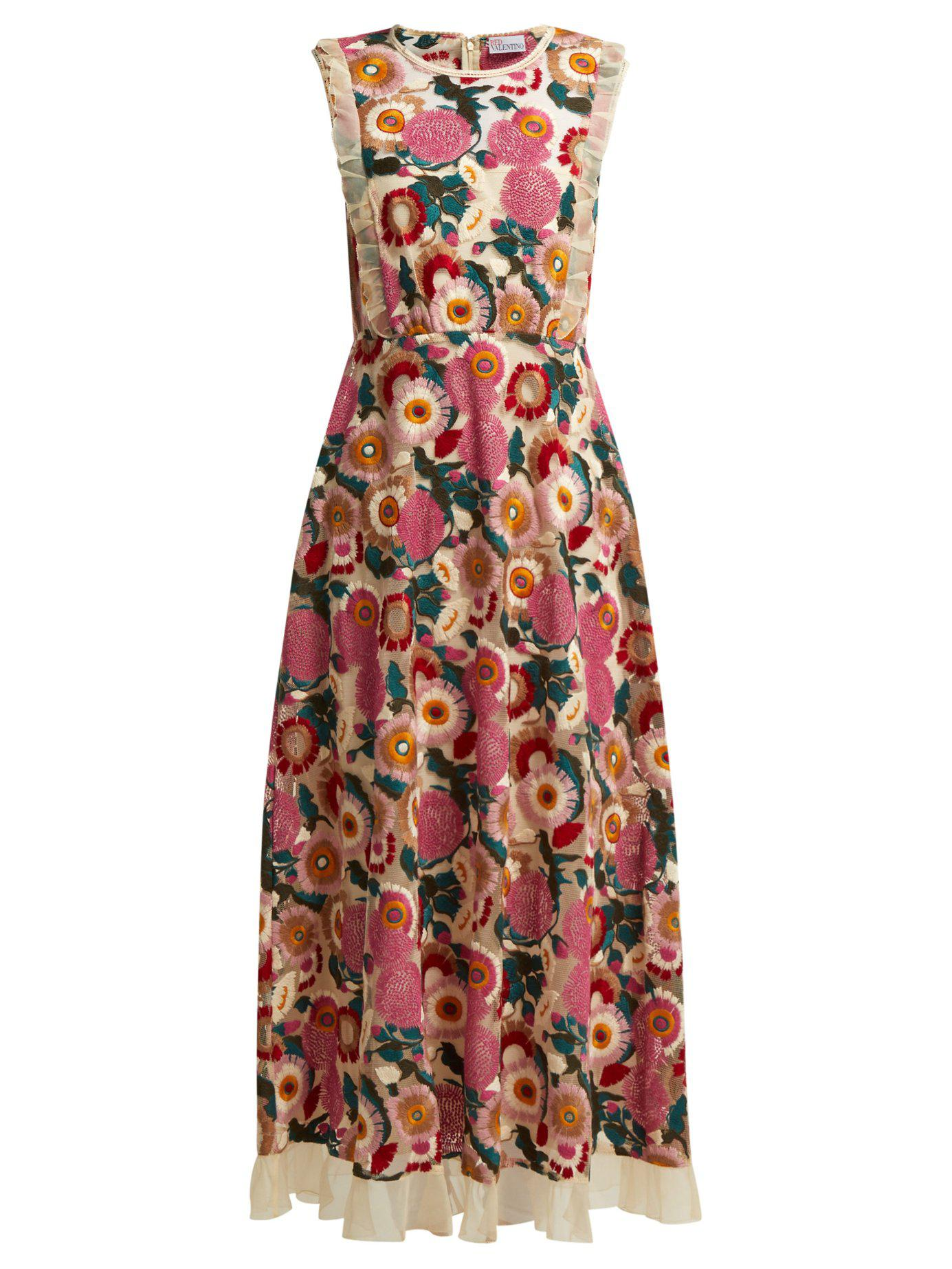 031897a93f6 Lyst - RED Valentino Floral Lace Midi Dress in Pink