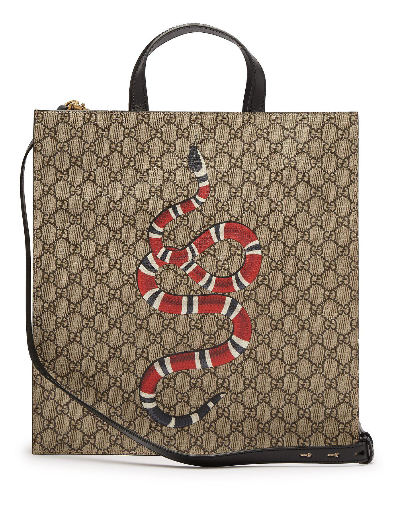 603162acb71 Gucci Gg Supreme And Kingsnake Print Tote Bag in Natural for Men - Lyst