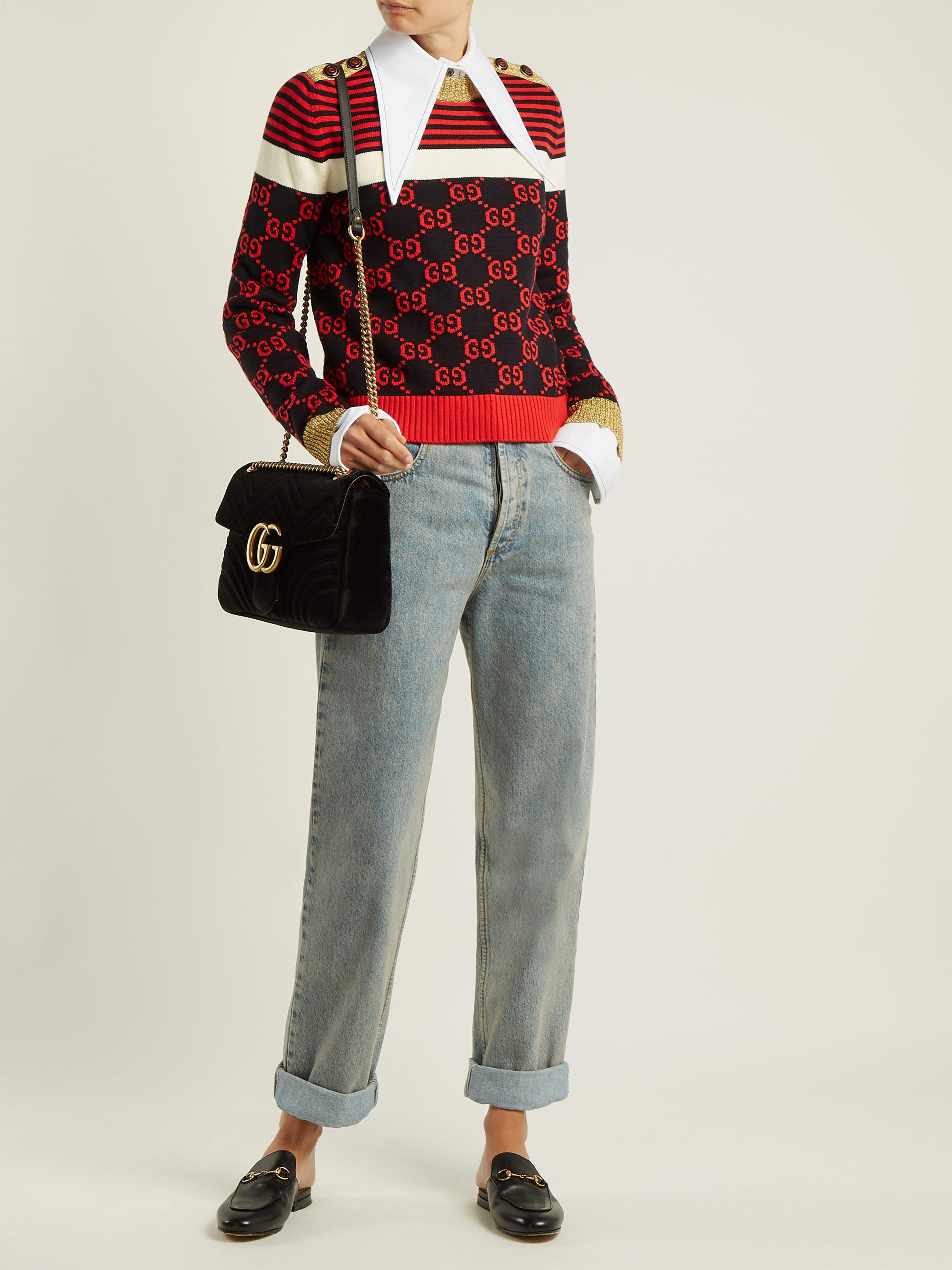 10a38d2d812 Lyst - Sac en velours matelassé GG Marmont medium Gucci en coloris Noir