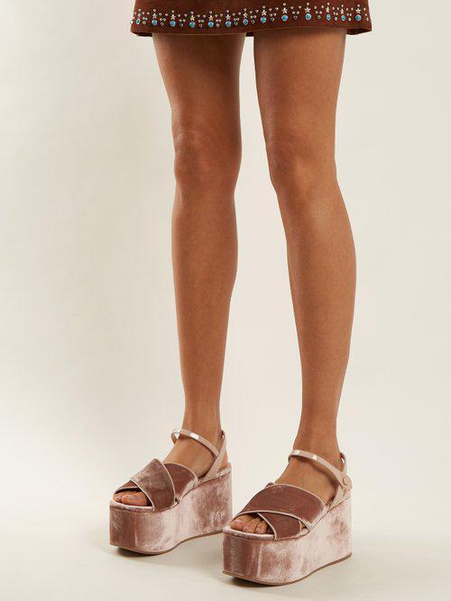 a0717faf1735 Miu Miu Crossover Velvet Flatform Sandals - Lyst