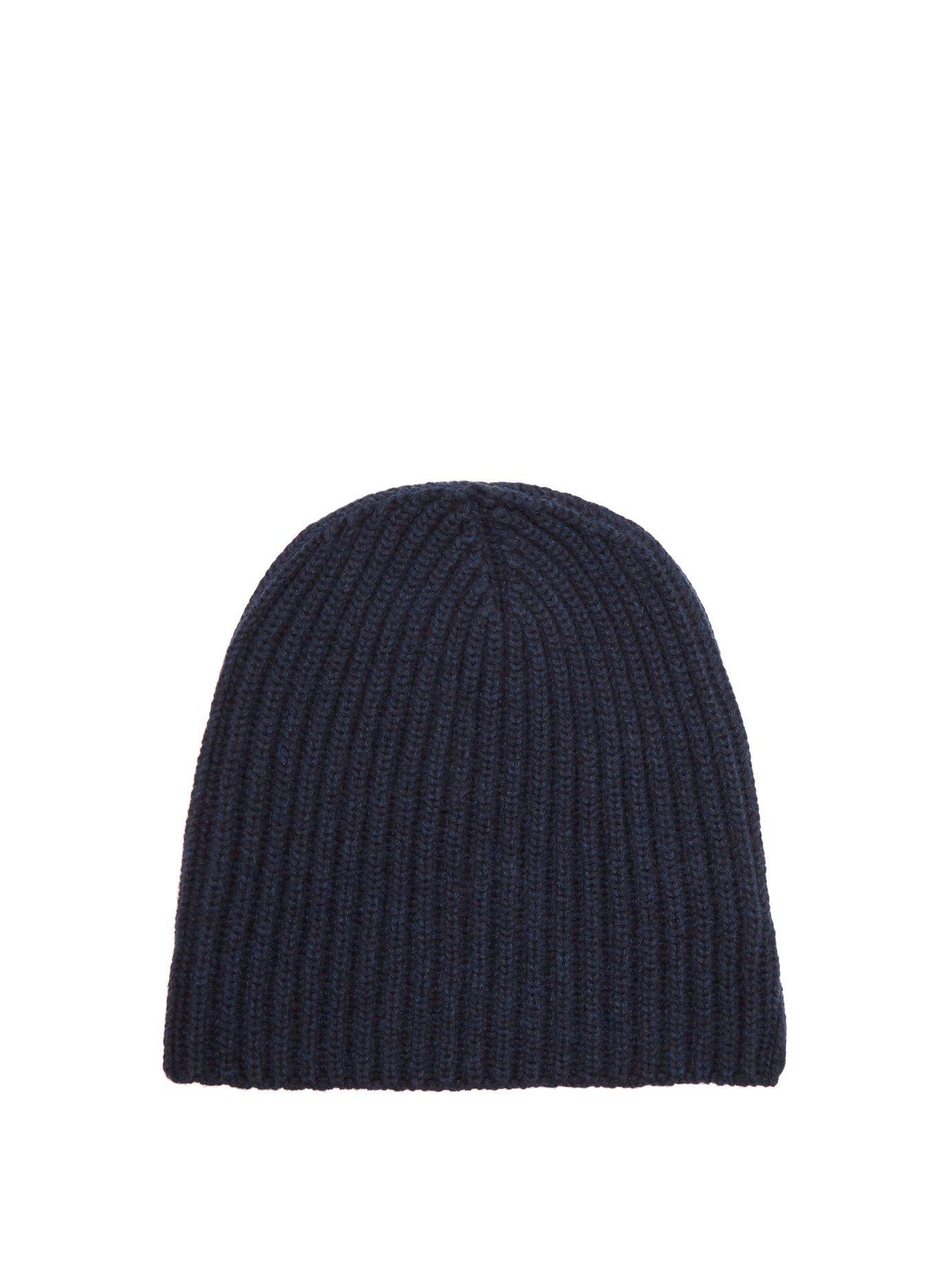 0cb22da8f43 Lyst - Thom Sweeney Rib-knit Cashmere Hat in Blue for Men