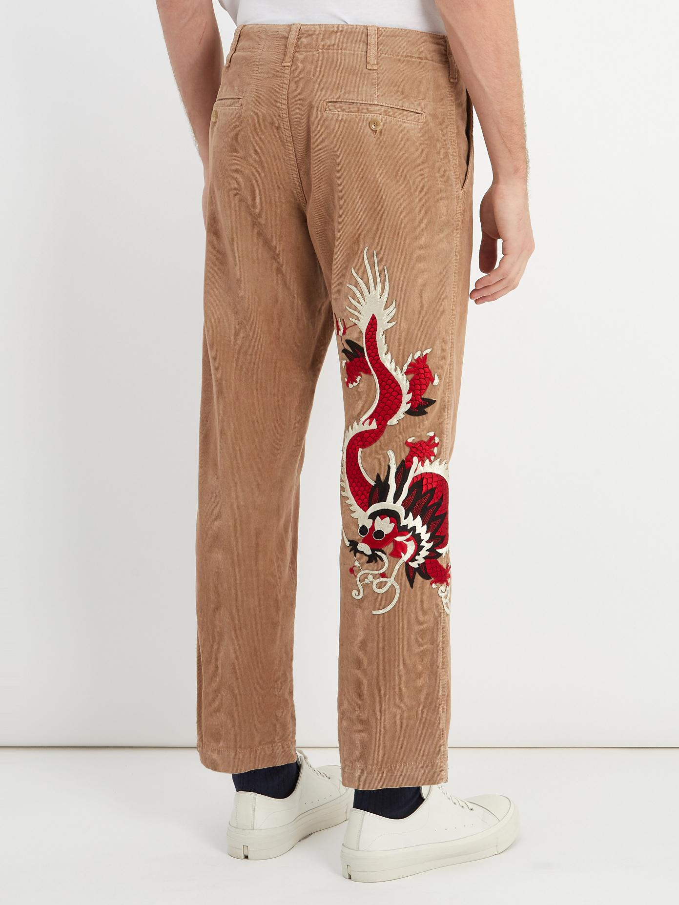 Dragon-embroidered cropped corduroy trousers Gucci AbpKRhi6a1