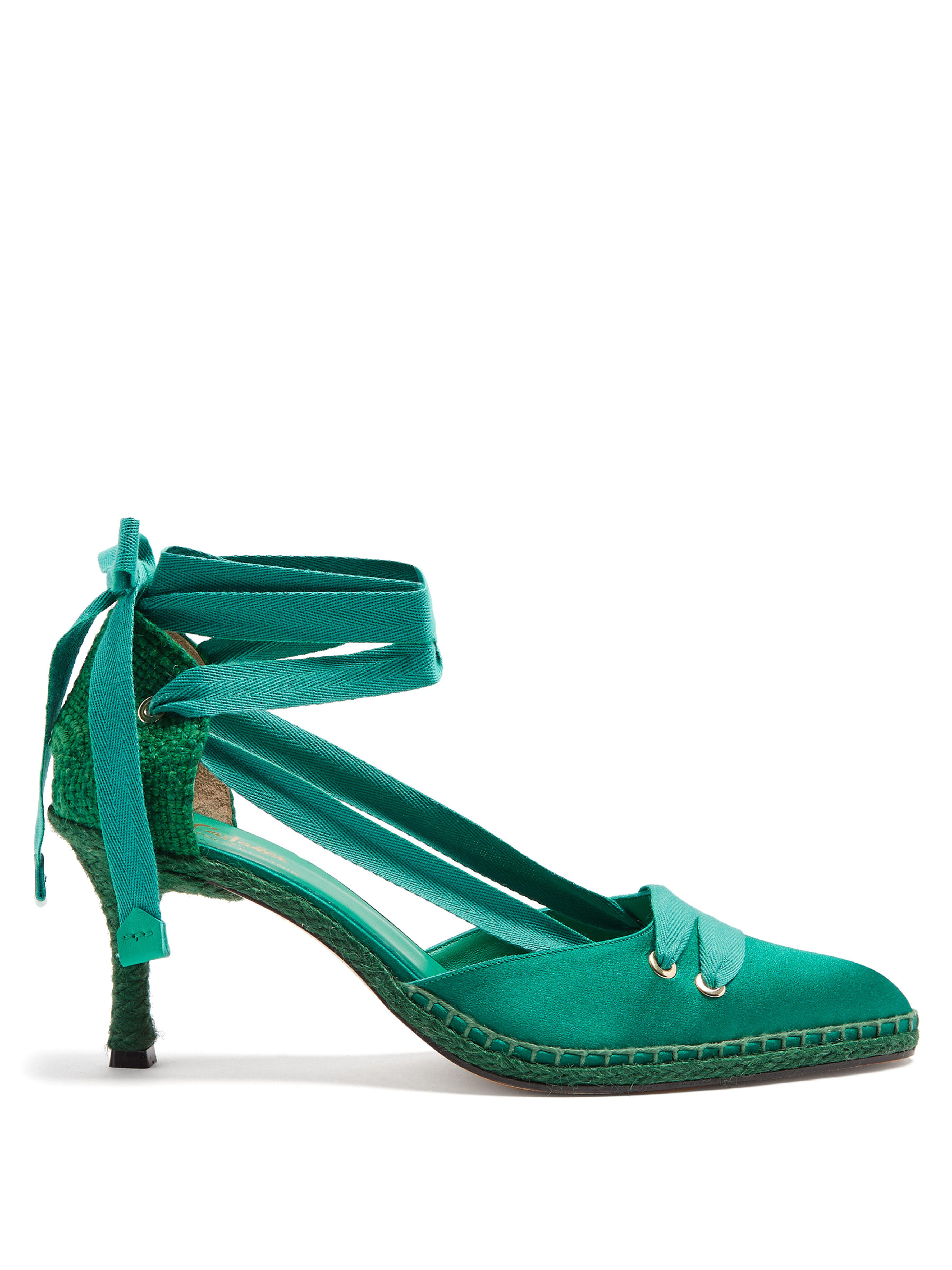 f270acba06aa3 Castaner X Manolo Blahnik Satin Pumps in Green - Lyst