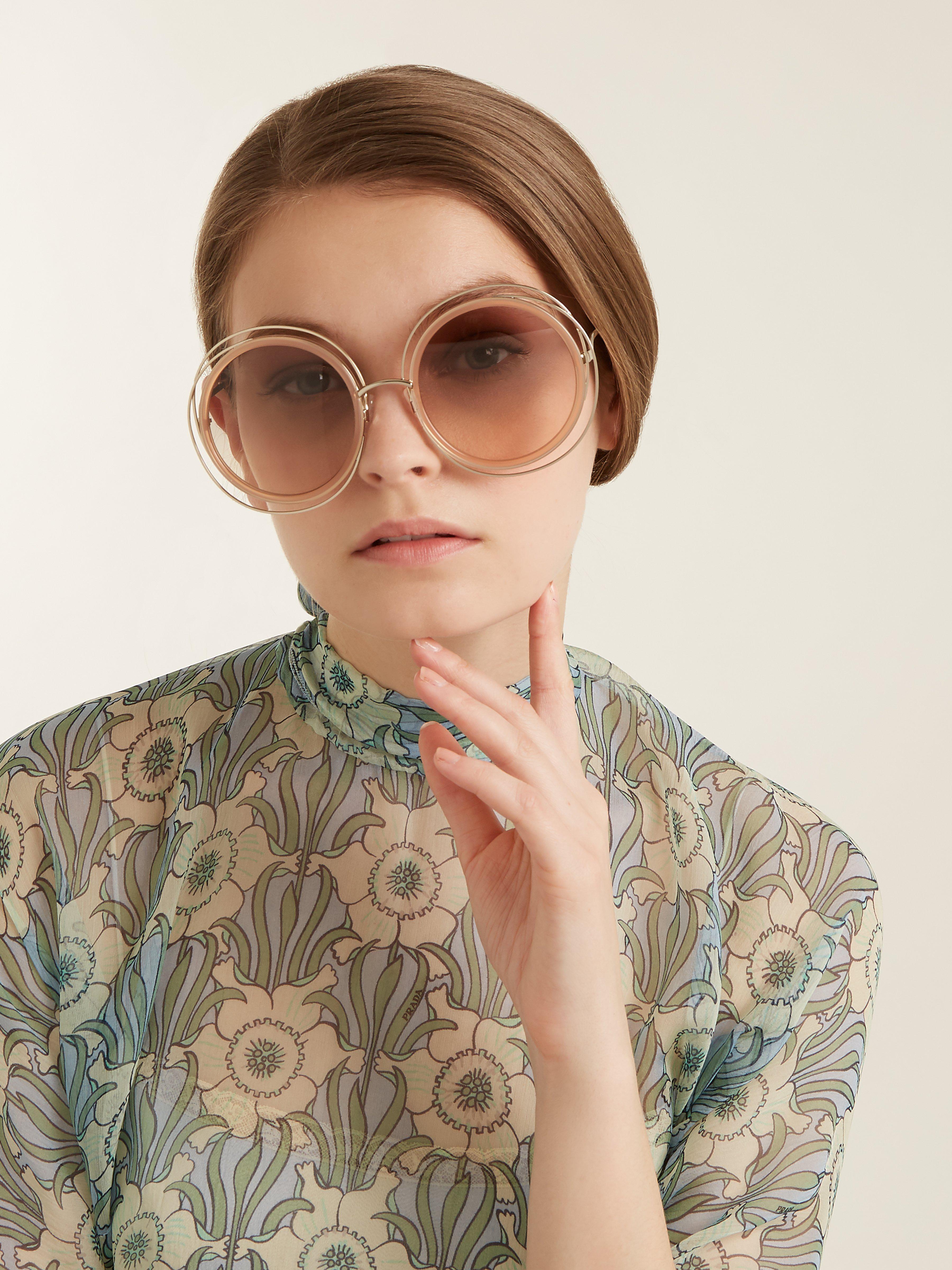 1b372abc615ec Chloé Carlina Round Frame Sunglasses in Natural - Lyst