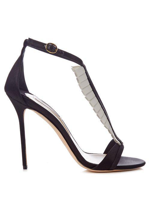 67eaa5a9cf87 Lyst - Olgana Paris La Sensuelle Leather And Satin Sandals in Black