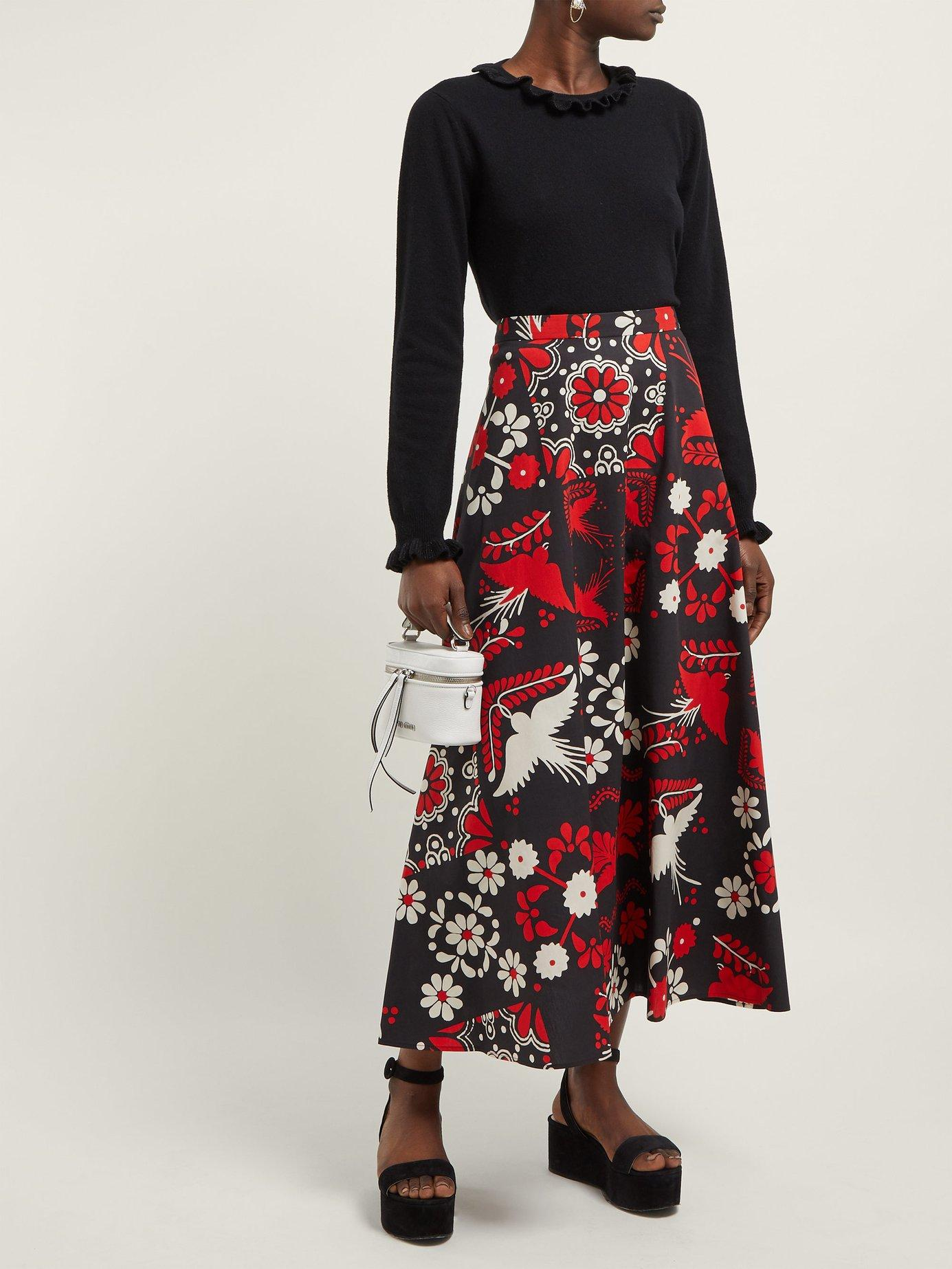 9dad0b27c Lyst - RED Valentino Floral And Bird Print Cotton Maxi Skirt in Red - Save  29%