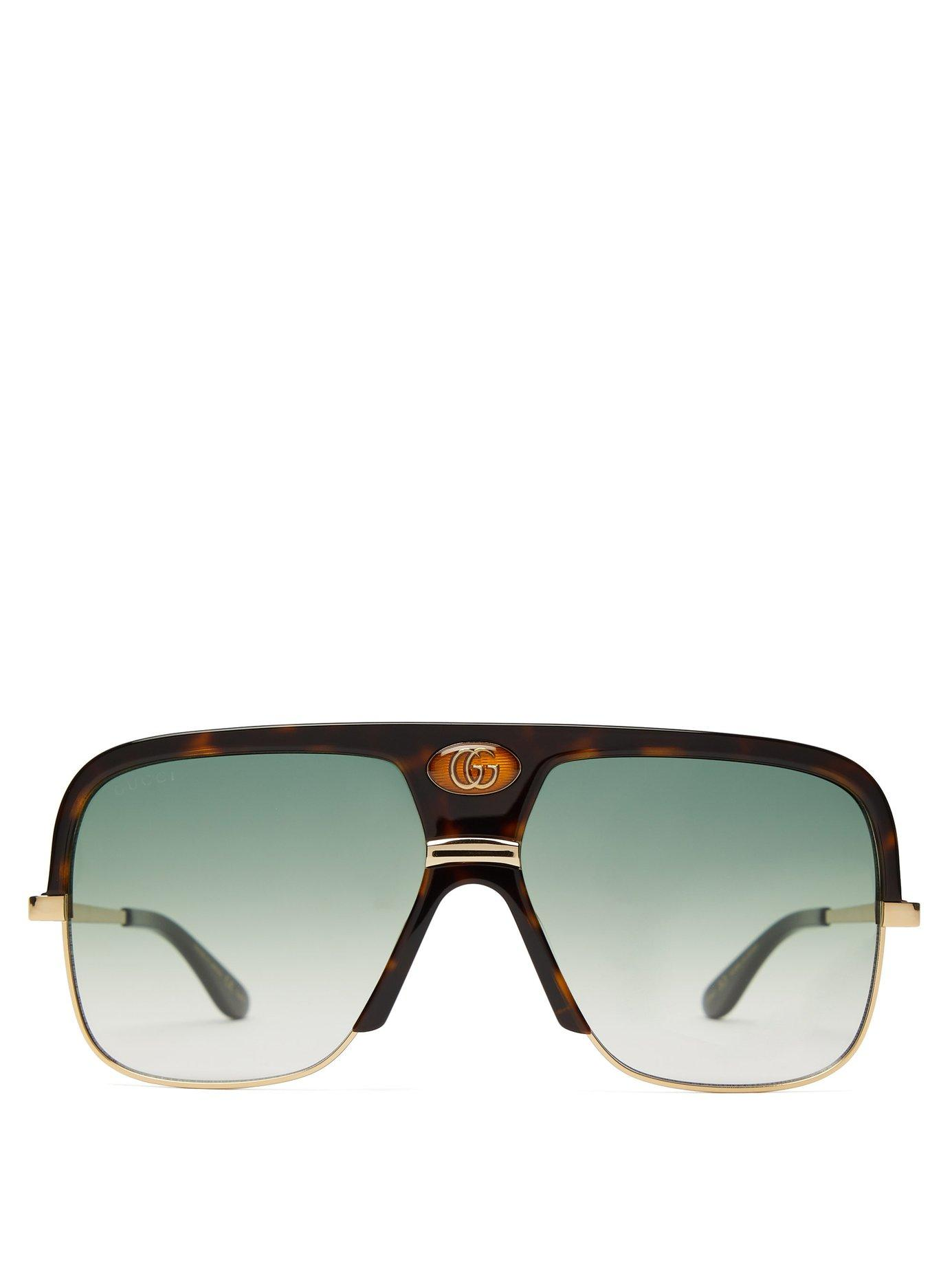 809524eacc2 Lyst - Gucci Gg Aviator Frame Tortoiseshell Acetate Sunglasses for Men
