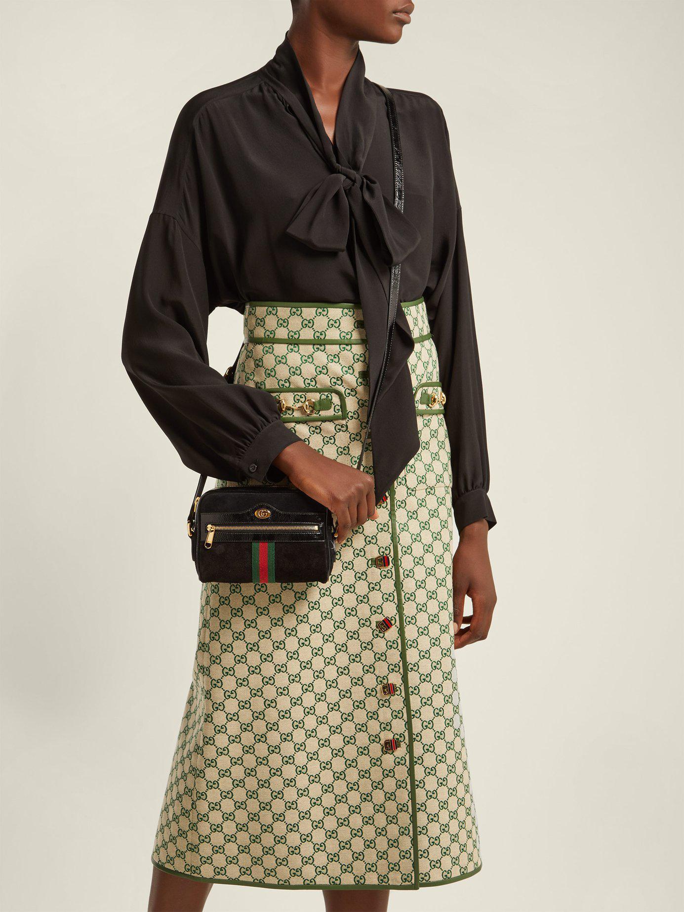6f3bdd25cd29 Gucci Ophidia Black Suede Cross Body Mini Bag in Black - Lyst