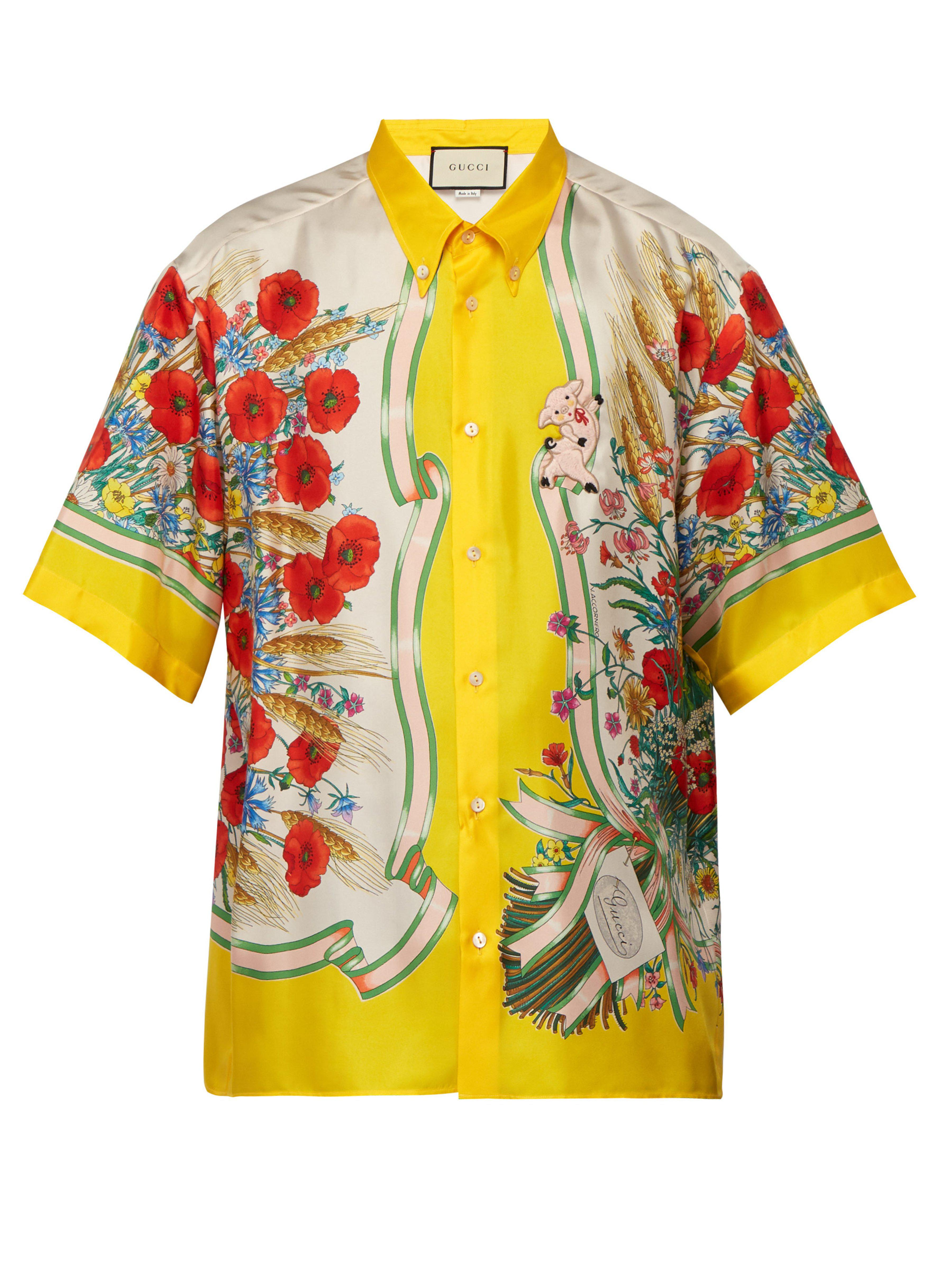 512de4d3fcd Gucci Floral Print Silk Twill Shirt in Yellow for Men - Save 21% - Lyst