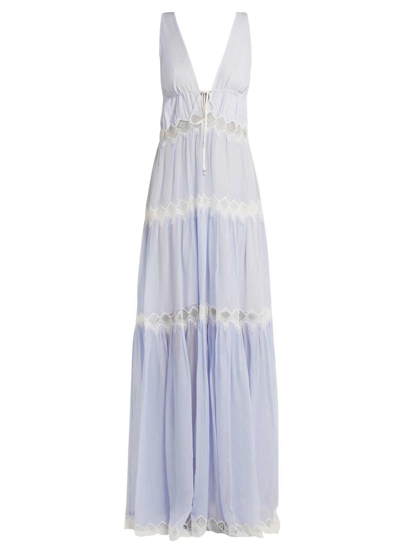 Jonathan Simkhai Lace Embellished Silk Maxi Dress In Blue Lyst