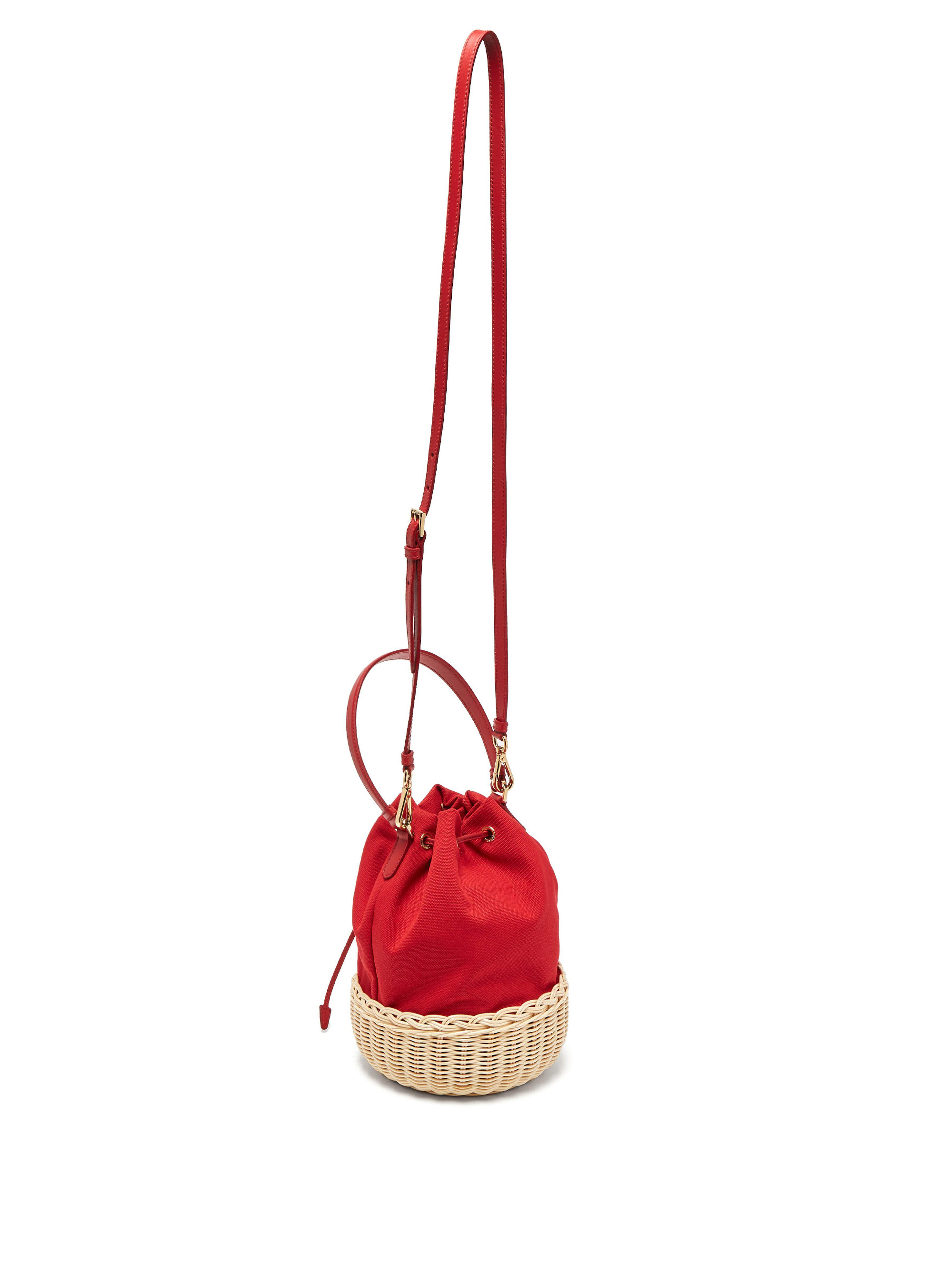 61ac20be4be8 ... Canvas And Woven Straw Bucket Bag - Lyst. View fullscreen