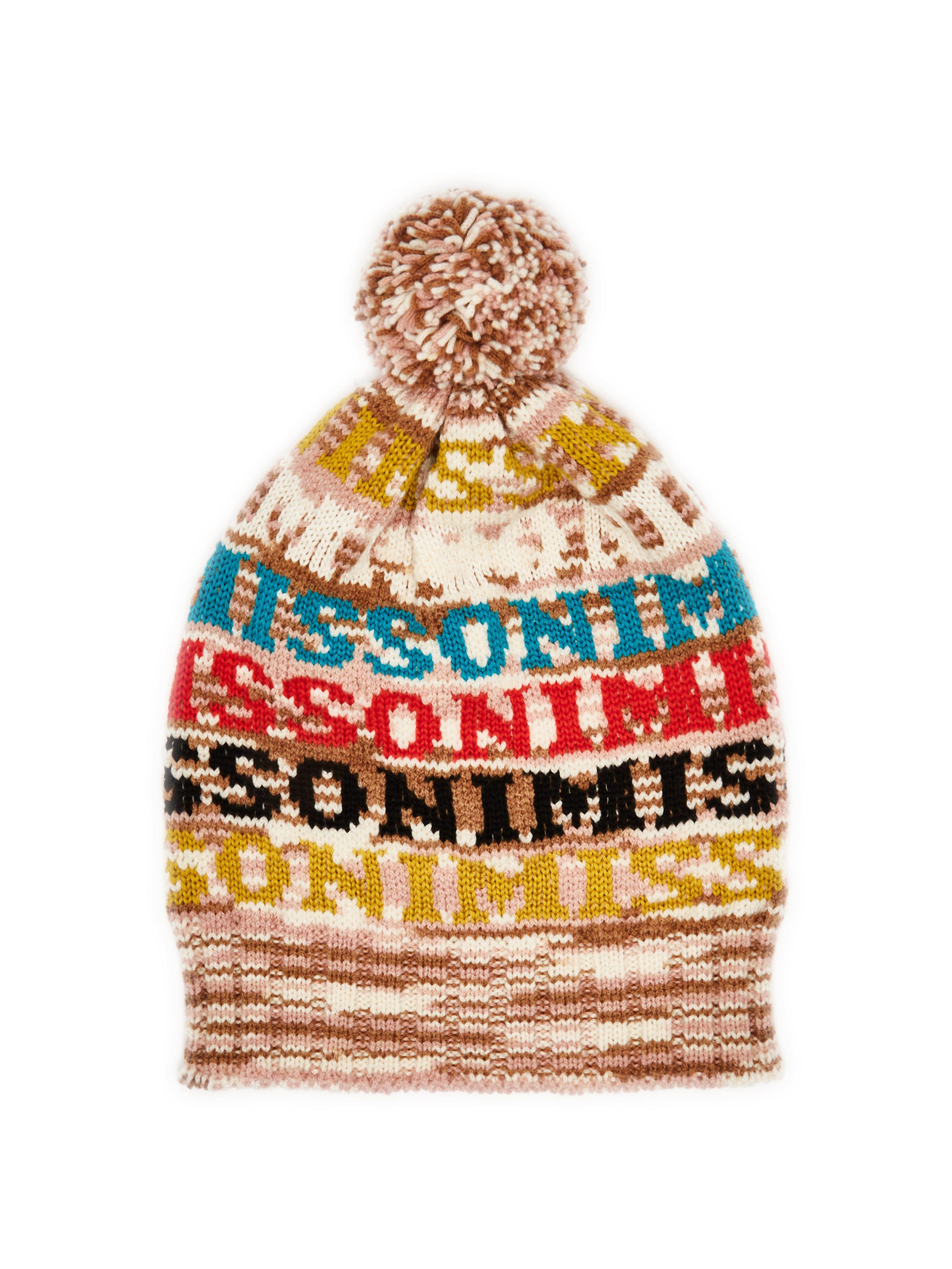 cd660bd7a55 Missoni - Brown Logo Knit Wool Beanie Hat - Lyst. View fullscreen