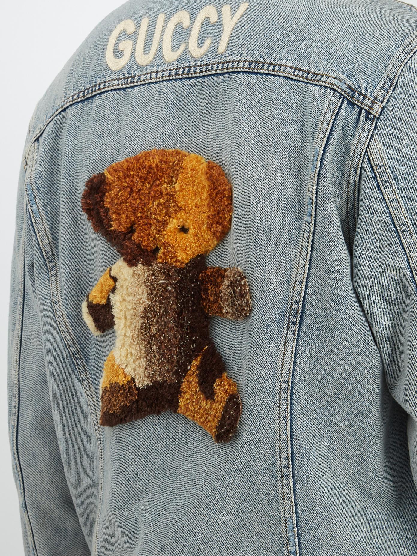 02cc033b153 Lyst - Gucci Teddy-appliqué Denim Jacket in Blue for Men
