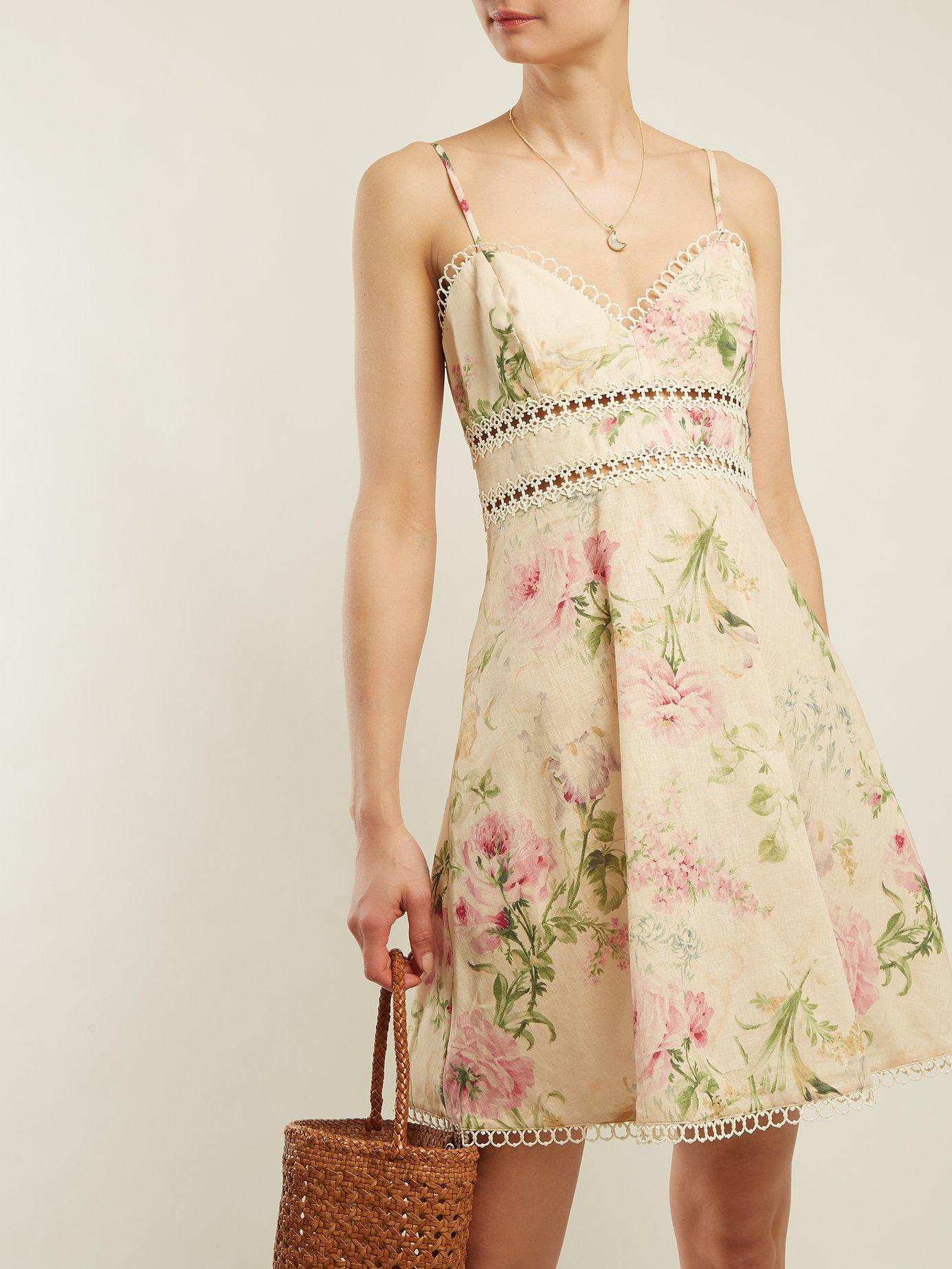 ec762f69de Lyst - Zimmermann Iris Floral Print Linen Blend Dress in Natural - Save 11%