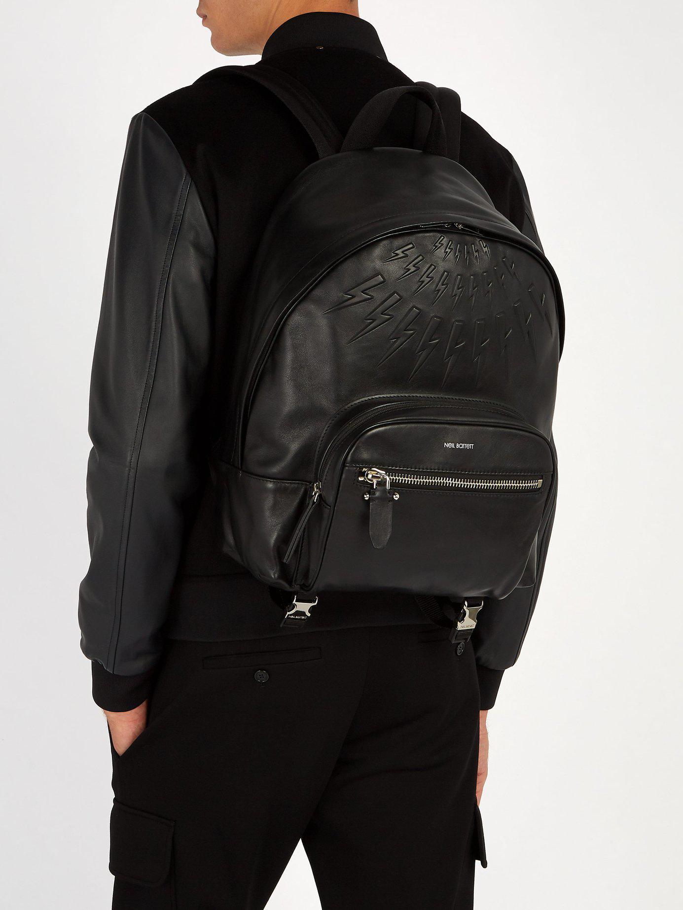 51cf4fac16 Lyst - Neil Barrett Lightning-bolt Embossed Leather Backpack in ...