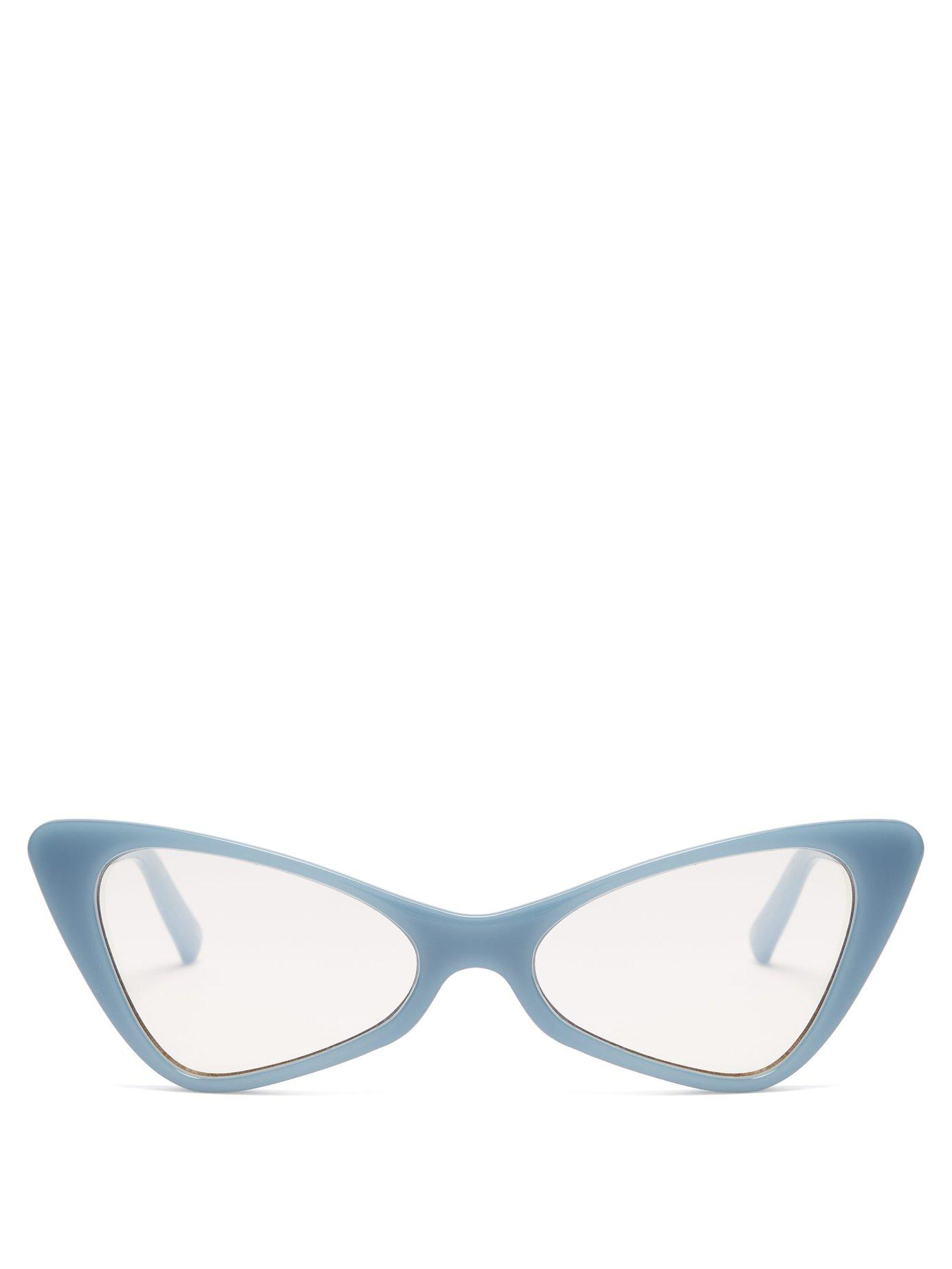 28e37aded160 Le Specs On The Hunt Cat Eye Acetate Sunglasses in Blue - Lyst