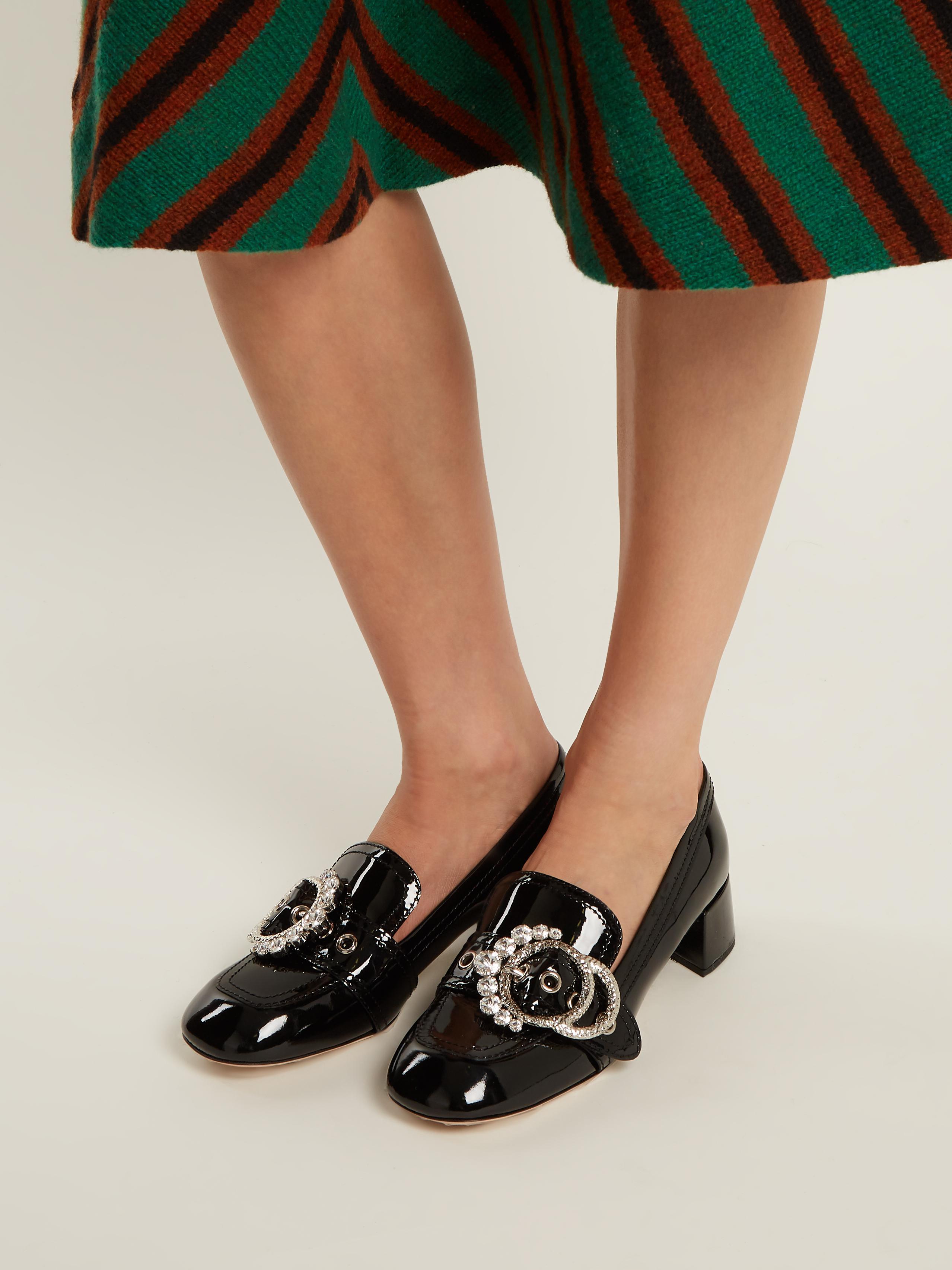 70ad428f8d0c7 Miu Miu Crystal-embellished Block- Heel Leather Loafers in Black - Lyst