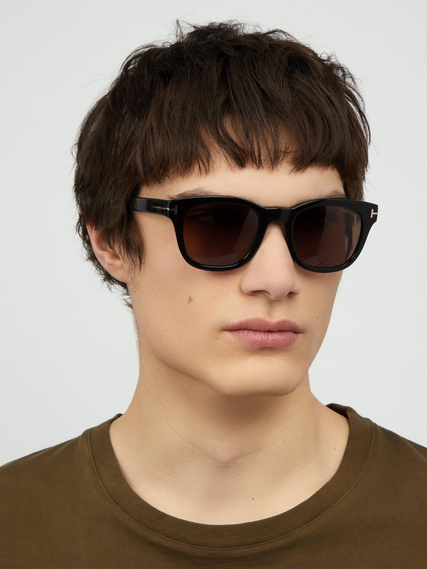 96a1f12efda Lyst - Tom Ford Eugenio Round Frame Acetate Sunglasses in Black for Men