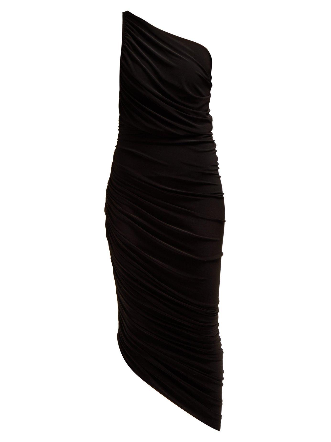 dc25c73b7358 Lyst - Norma Kamali Diana Asymmetric Ruched Midi Dress in Black