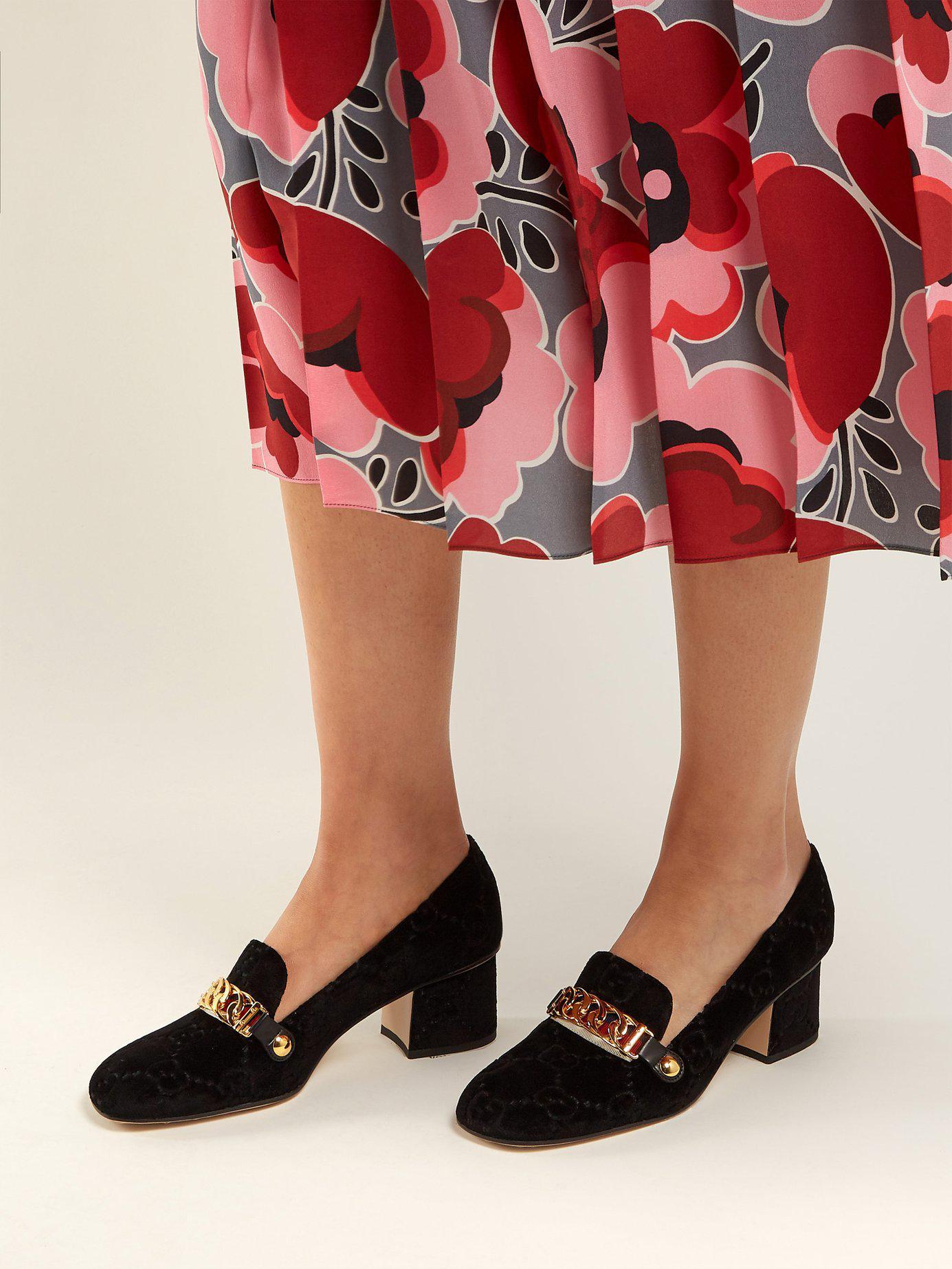 266673dfdf56 Gucci - Black Sylvie Logo Debossed Velvet Loafers - Lyst. View fullscreen