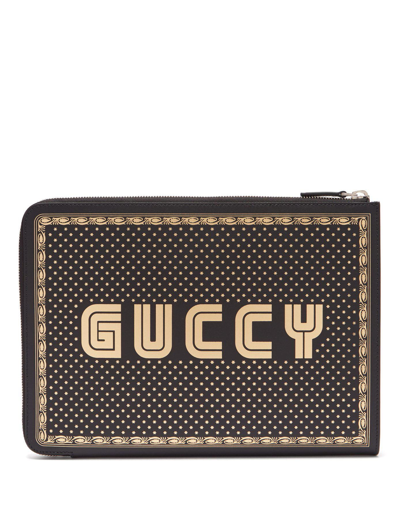 6085f0fa81f Lyst - Gucci Magnetismo Print Leather Pouch in Black for Men - Save 9%