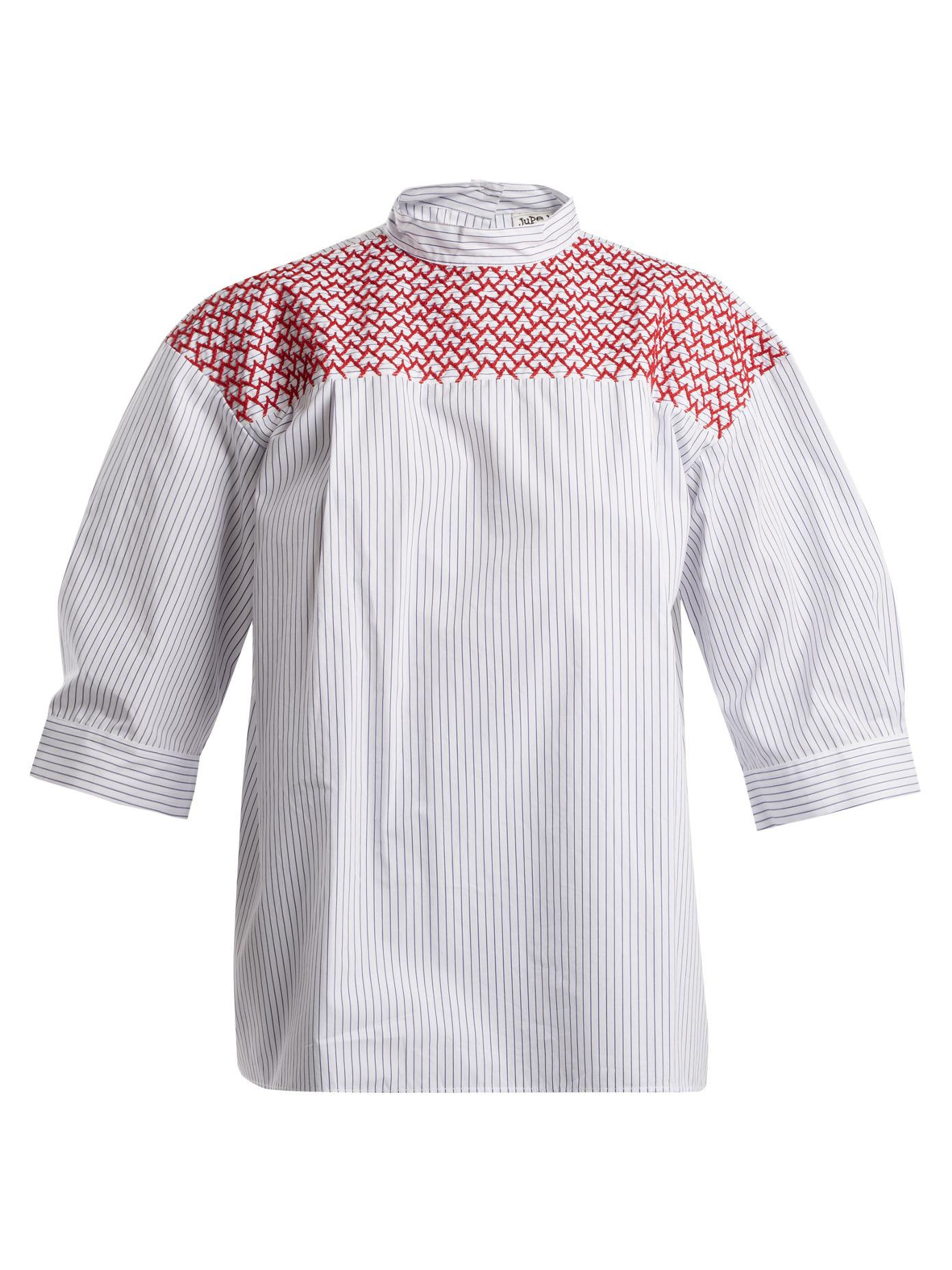 Chao embroidered striped cotton top Jupe by Jackie Cheap With Mastercard 2v7zEbssdw