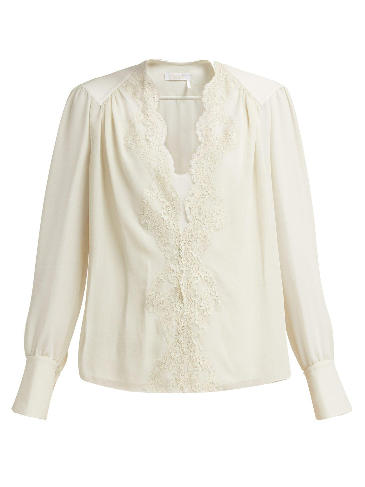 173799a551008e Lyst - Chloé Lace Trimmed Silk Georgette Blouse in Gray