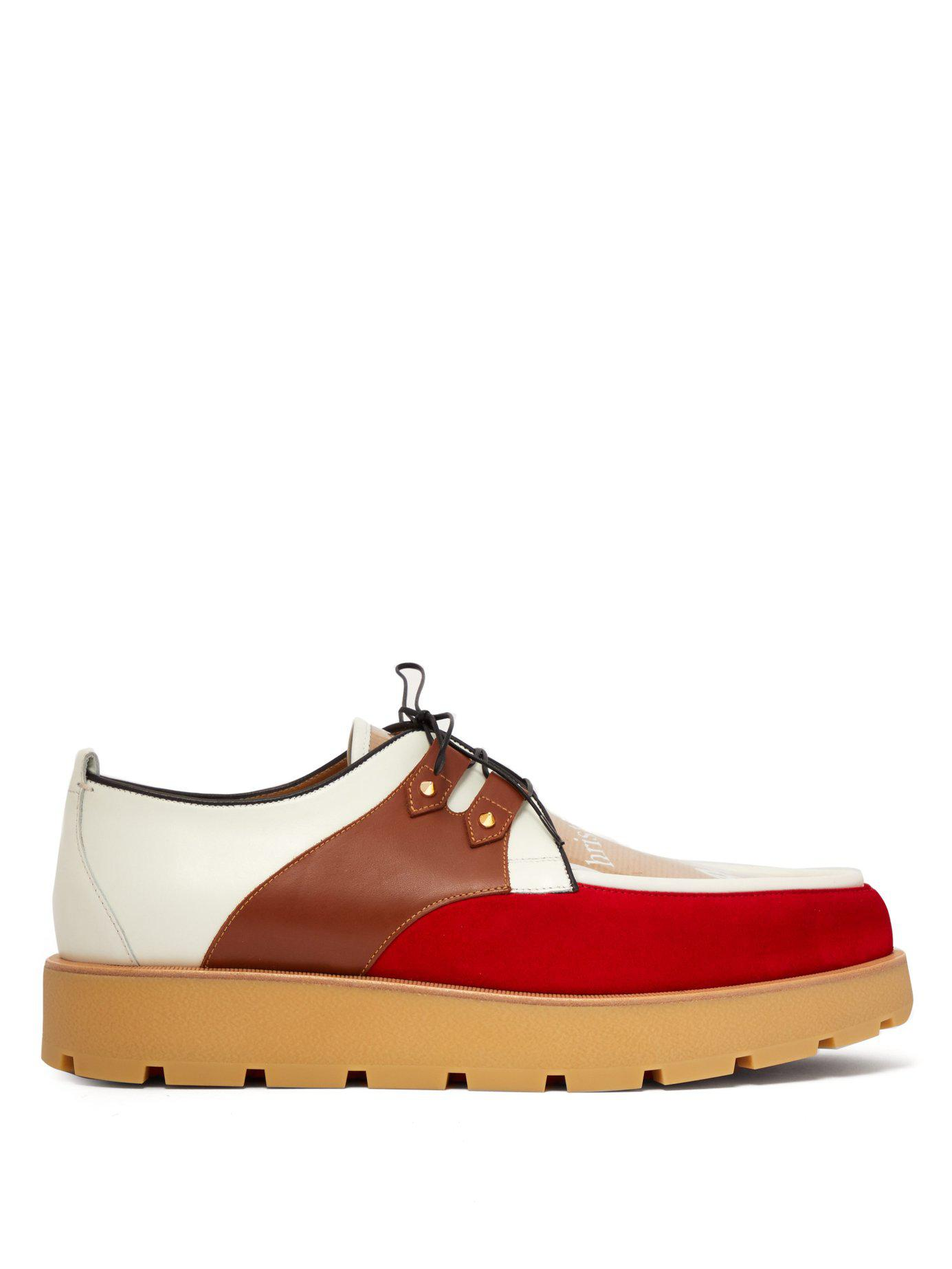 5f5d6184b01 Lyst - Christian Louboutin Marcello Crepe Leather Creepers in Red ...