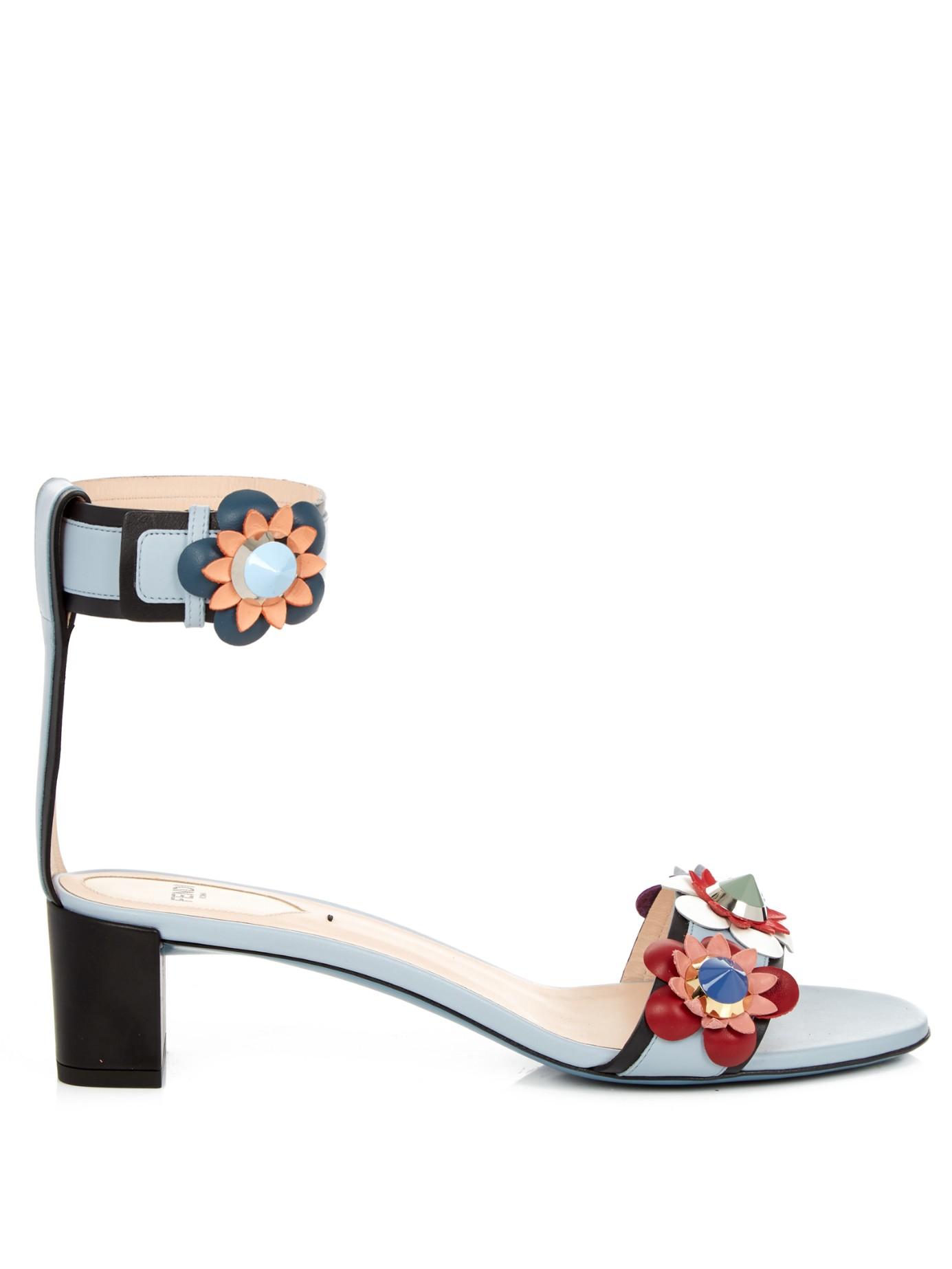 3499b445bc05f4 Lyst - Fendi Flowerland Leather Sandals in Blue