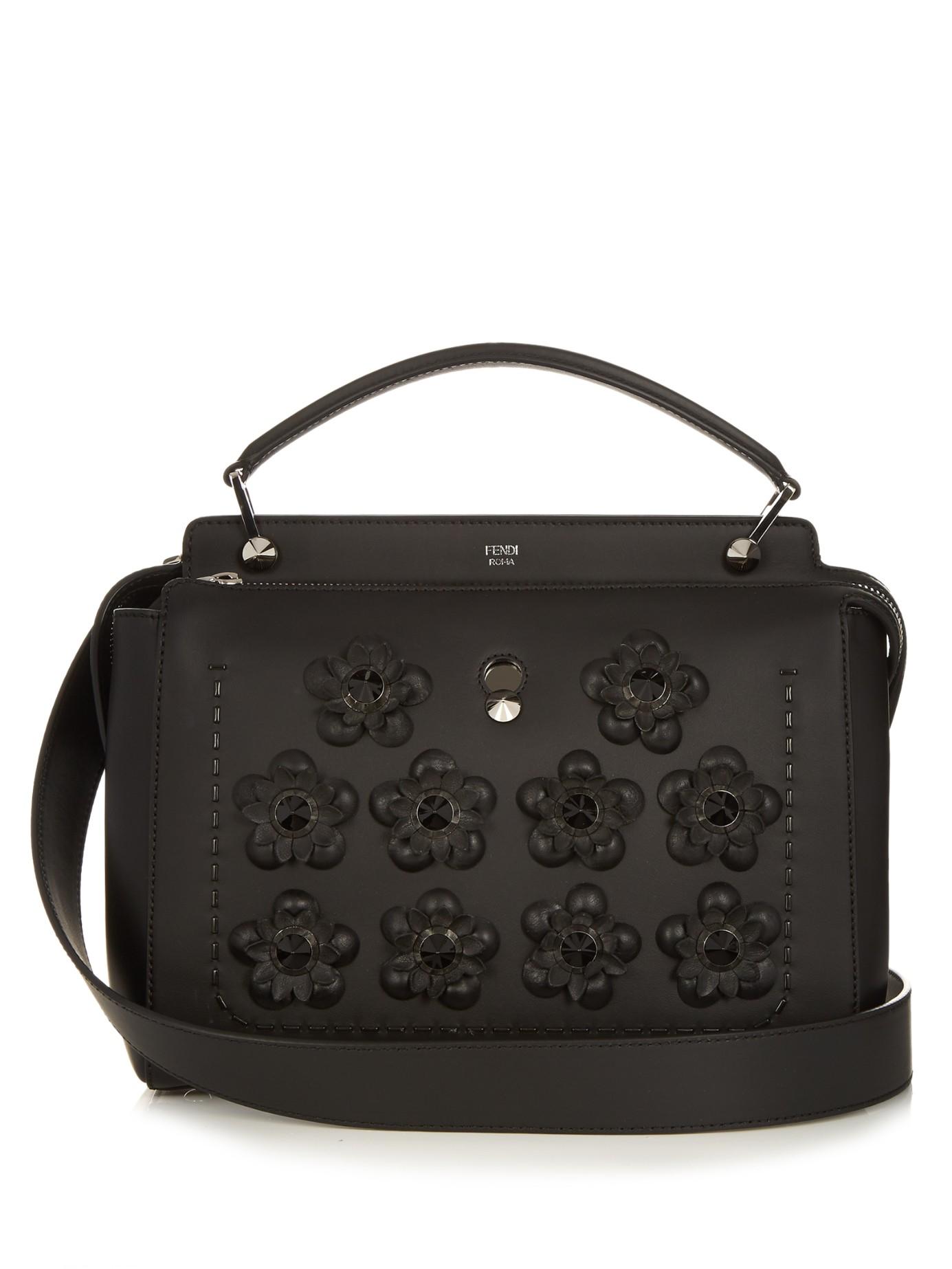 Lyst - Fendi Dotcom Flowerland-embellished Leather Bag in Black 228e96418a