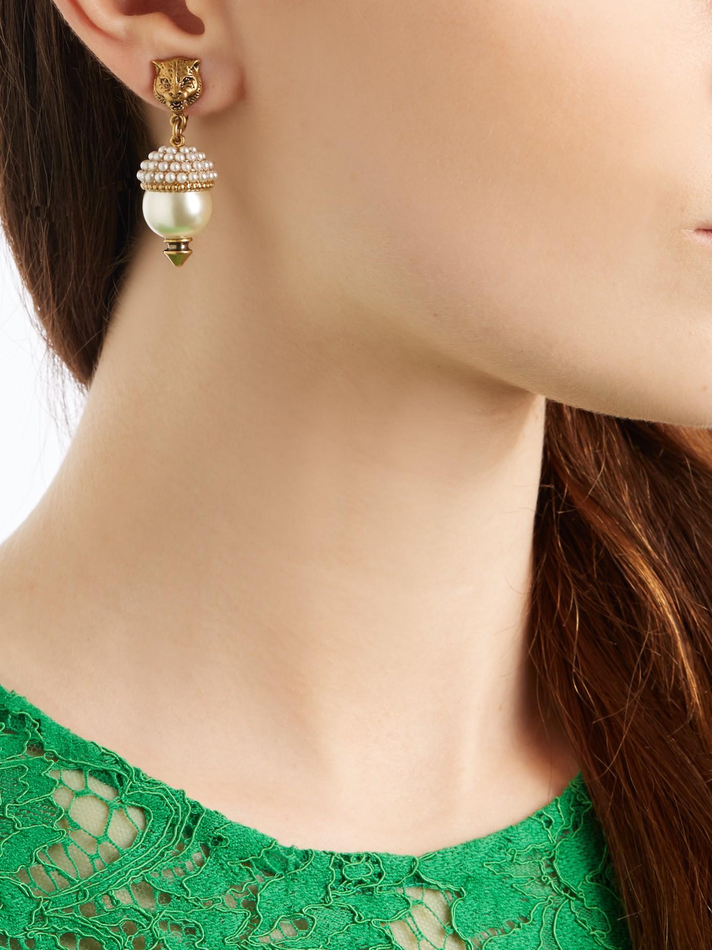37fafc46a5d Lyst - Gucci Feline Pearl-effect Embellished Earrings in White