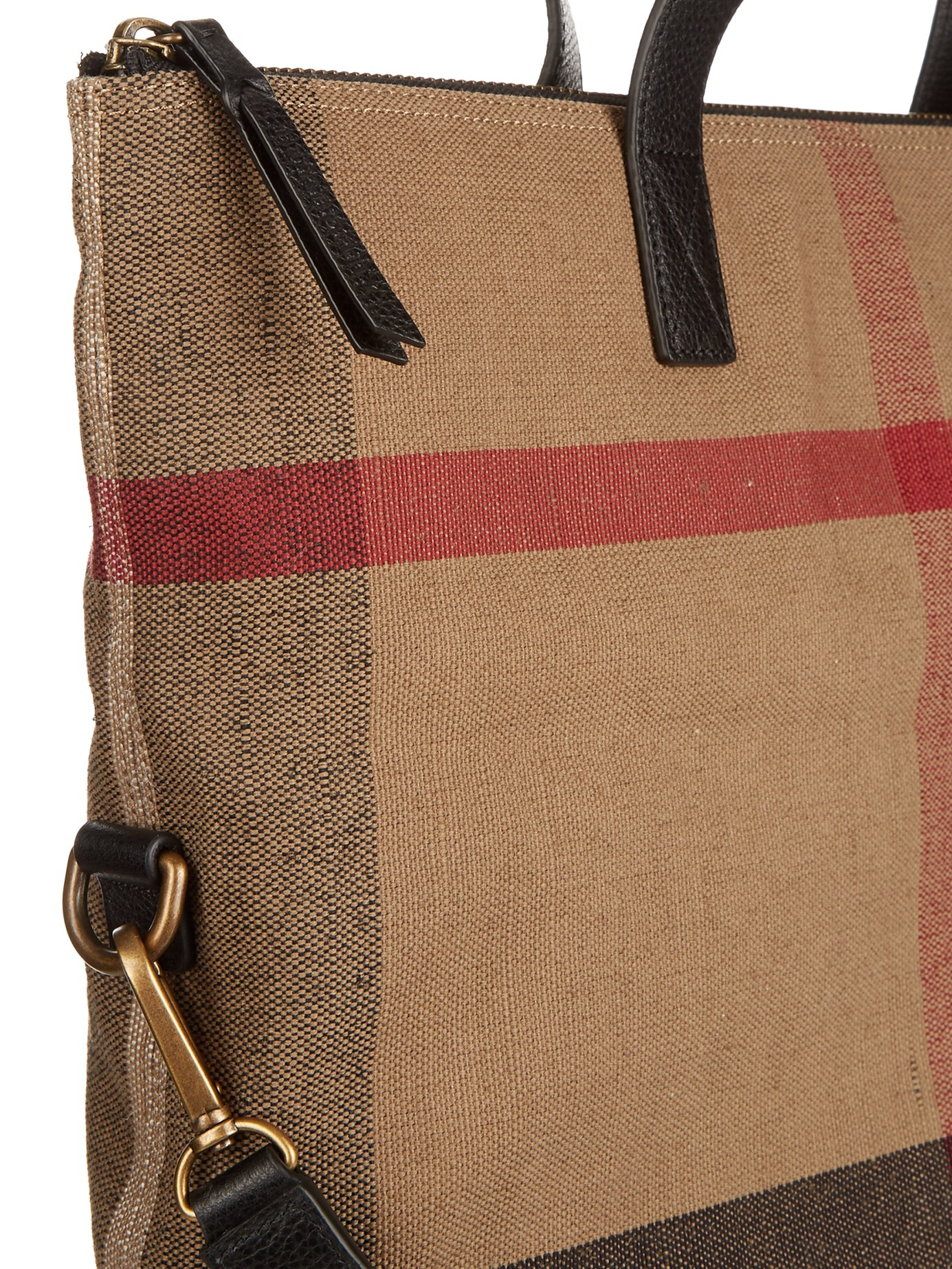 24df755d0 Burberry Armley Checked Canvas And Leather Tote in Brown for Men - Lyst