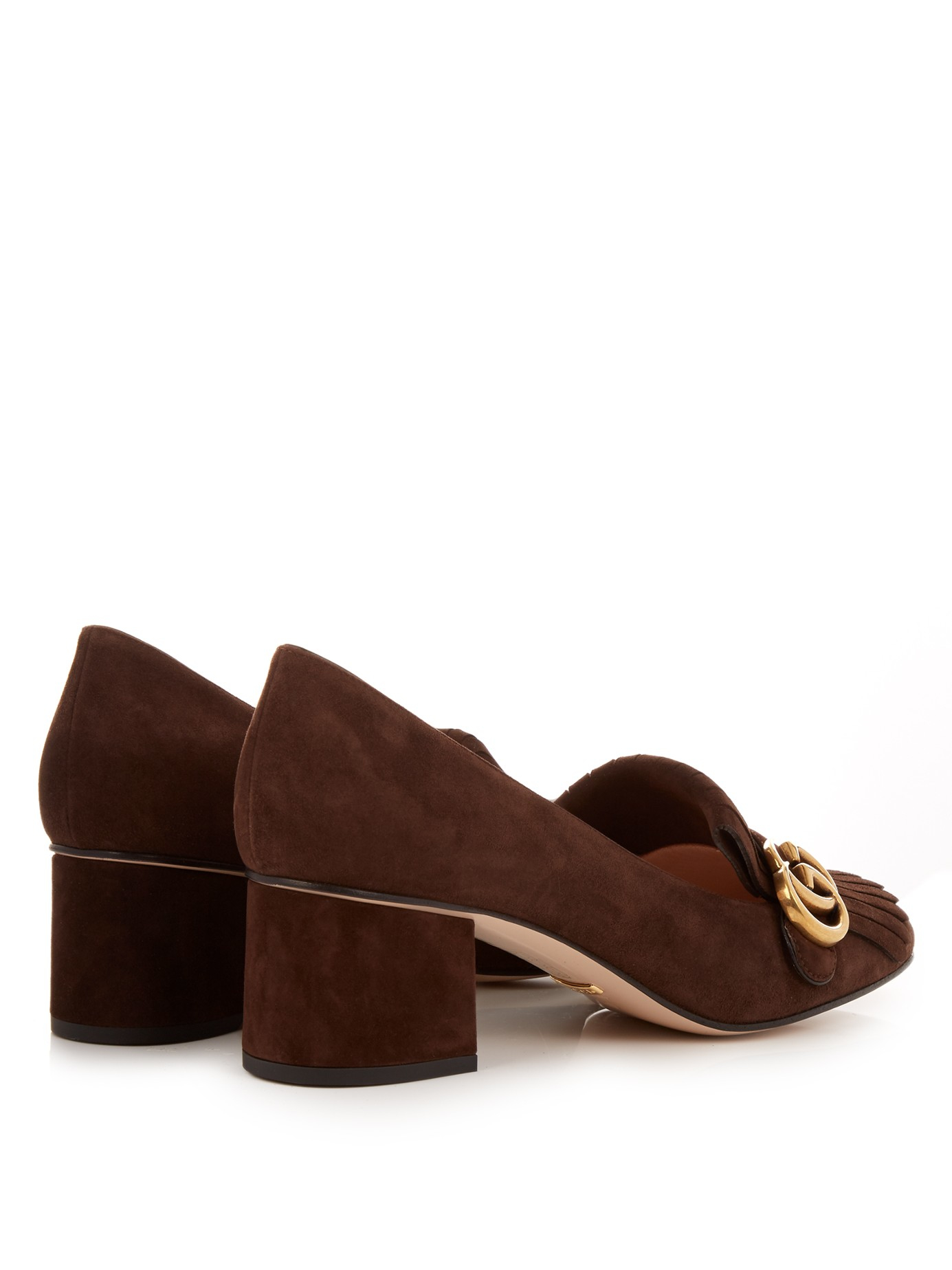 bd21e07b1 Gucci Marmont Fringed Suede Loafers in Brown - Lyst