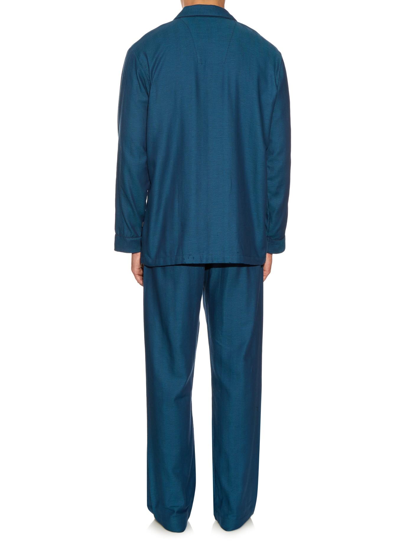 Derek rose Kelburn Herringbone Pyjama Set in Blue for Men ...