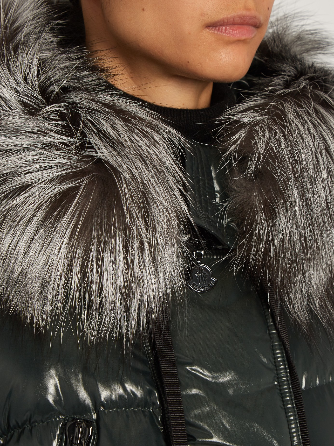 moncler aphrotiti shiny quilted down coat w/fur hood