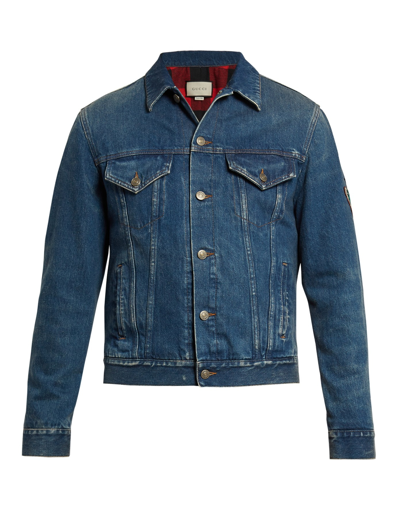 460650cf7 Gucci Tiger-embroidered Denim Jacket in Blue for Men - Lyst
