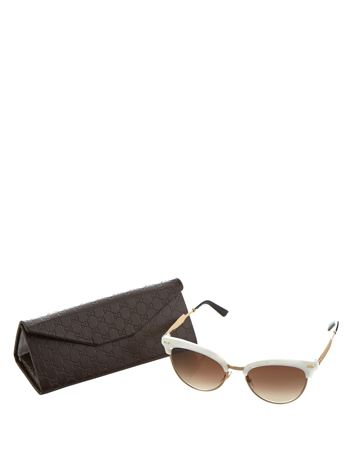 Gucci Glasses Half Frame : Gucci Cat-eye Half-frame Sunglasses Lyst