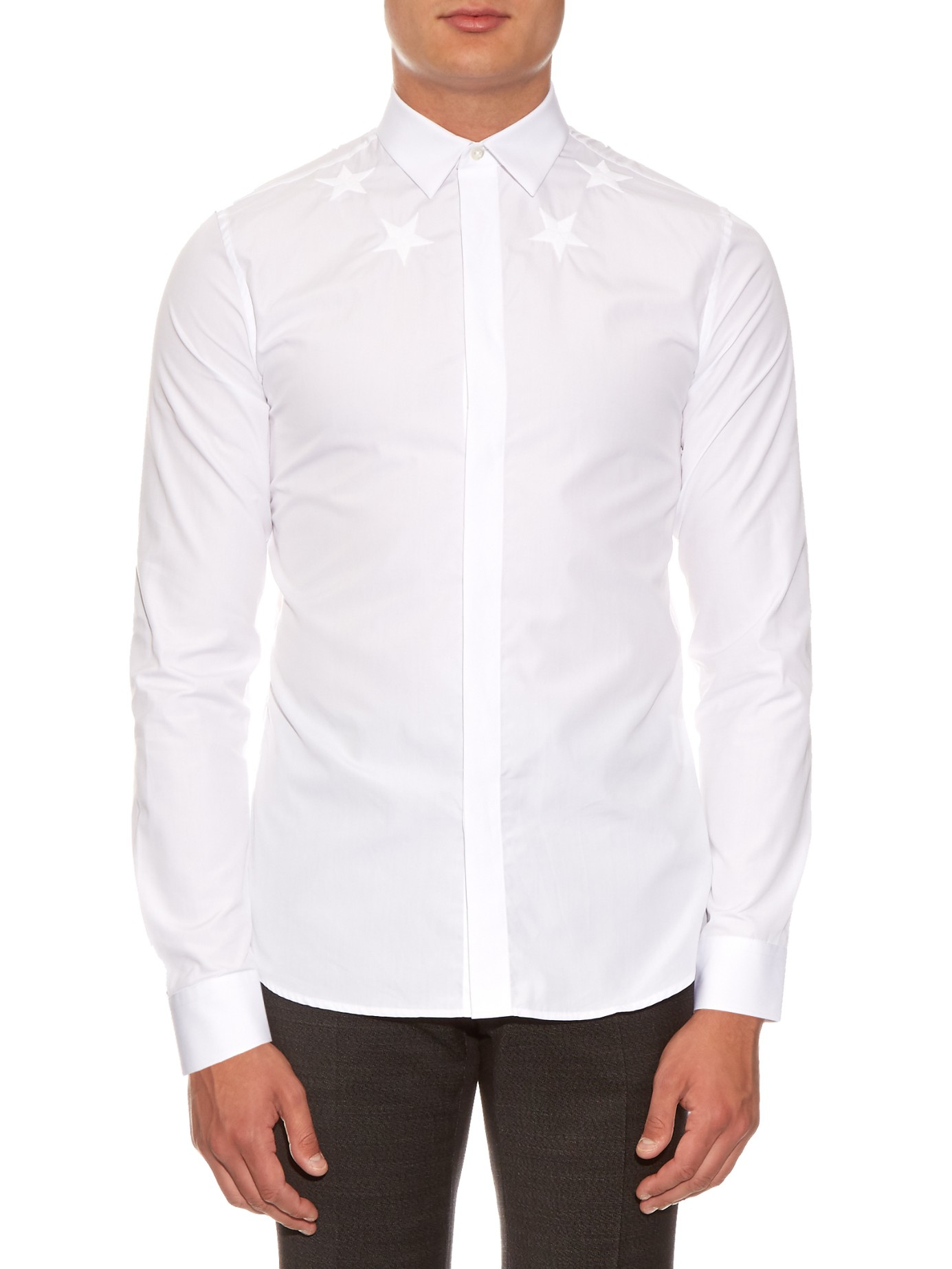 Givenchy stars embroidered button cuff cotton shirt in
