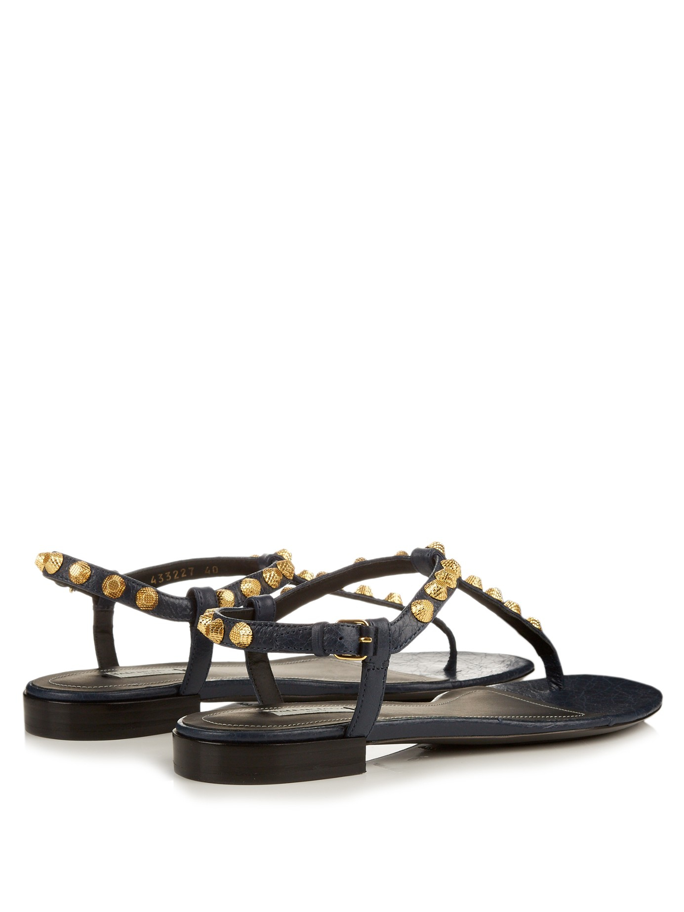 969dfe798db8 Lyst - Balenciaga Arena Studded Leather Sandals in Blue