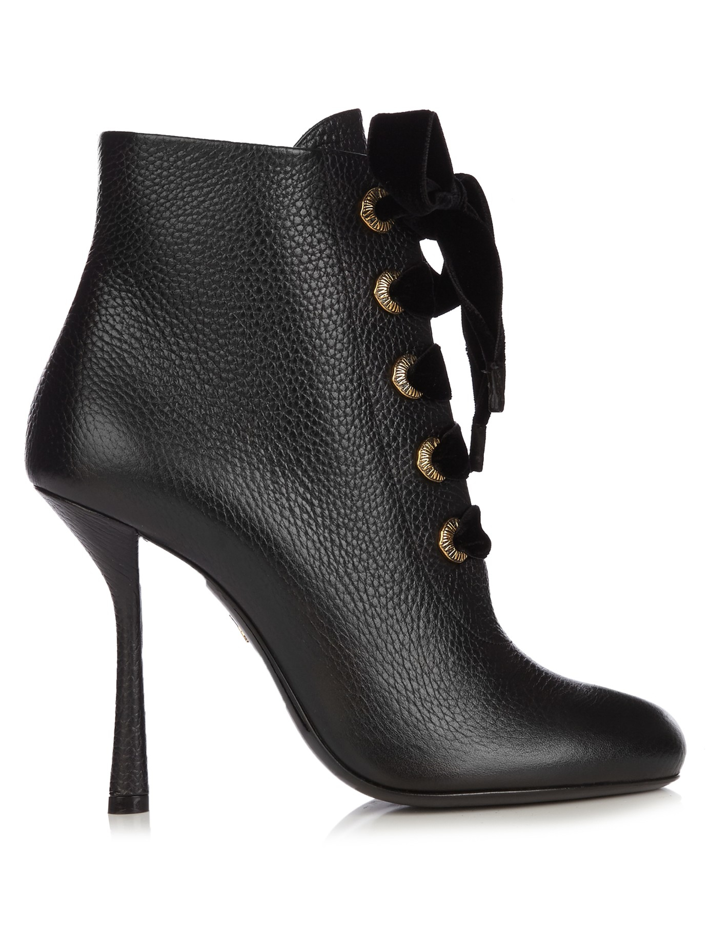 Lanvin Velvet Lace Leather Ankle Boots in Black