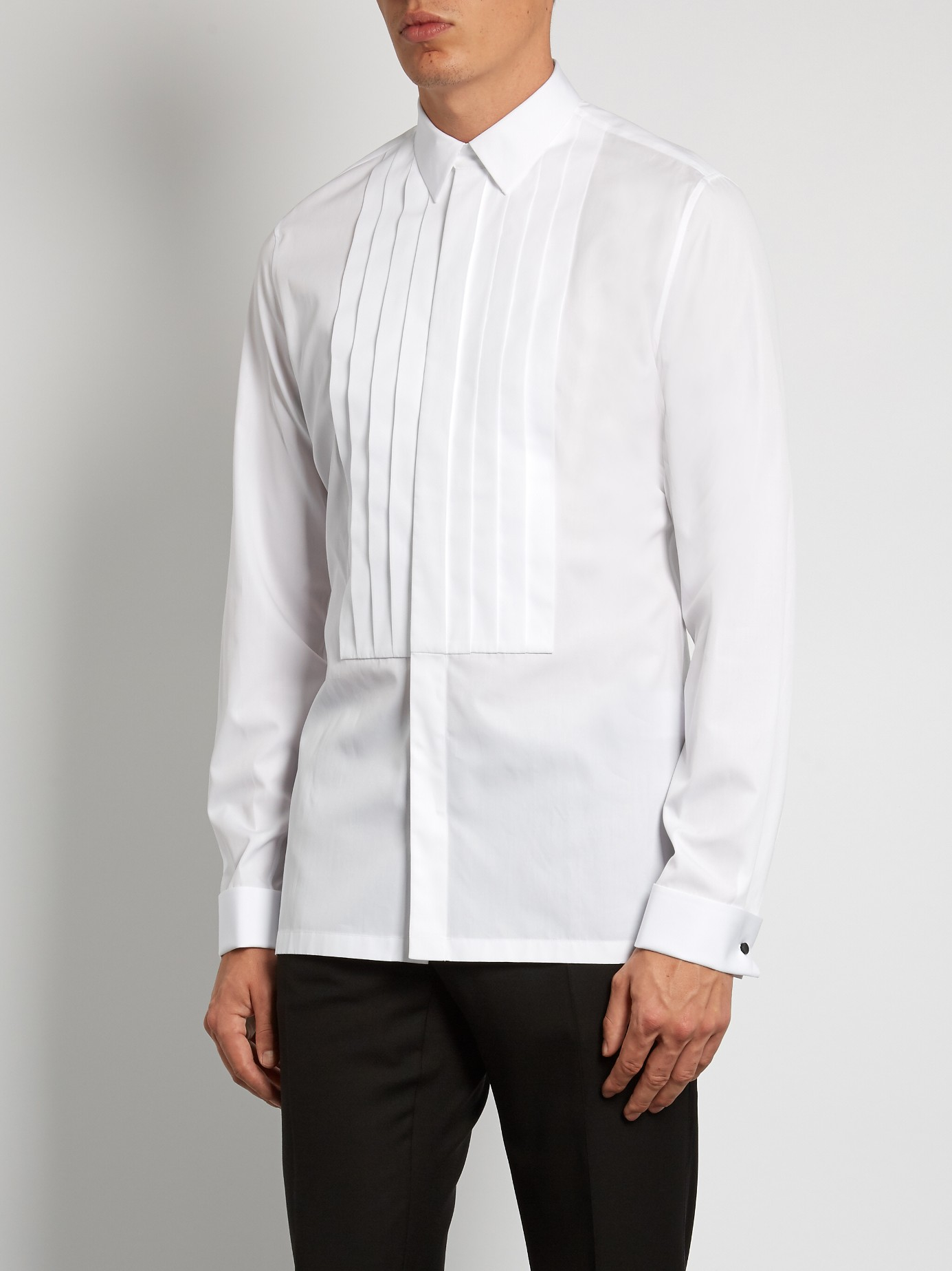 Lyst balenciaga french cuff pleated dinner shirt for men for Cuff shirts for men