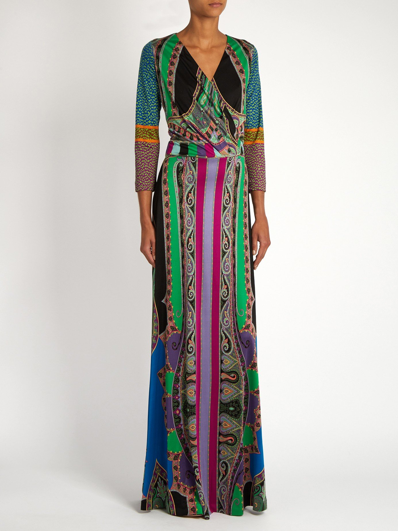 Etro Stripe And Paisley Print Silk Jersey Dress In Blue Lyst