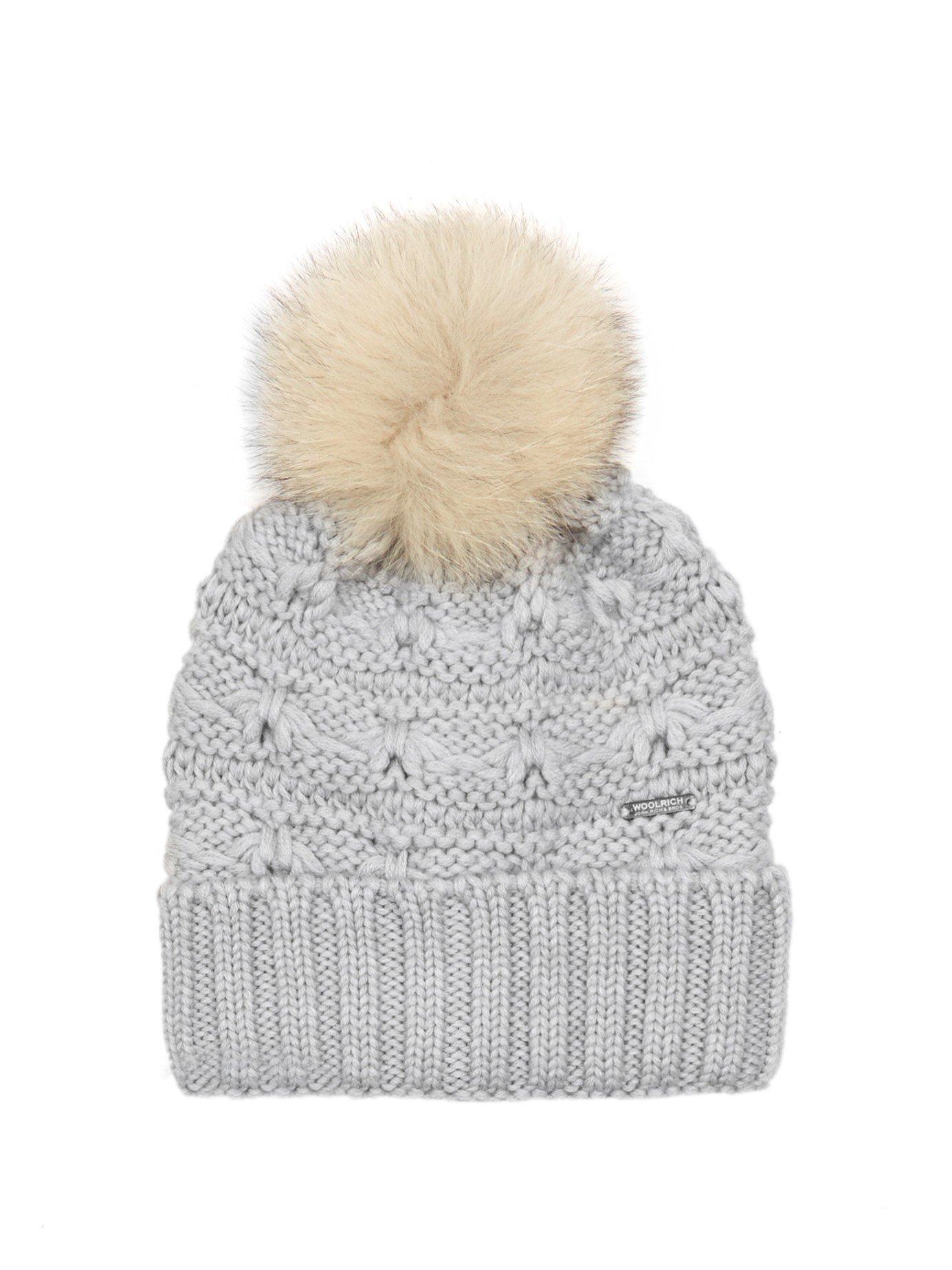 Lyst - Woolrich Serenity Fur-pompom Wool Beanie Hat in Gray 31ccb340e7d6