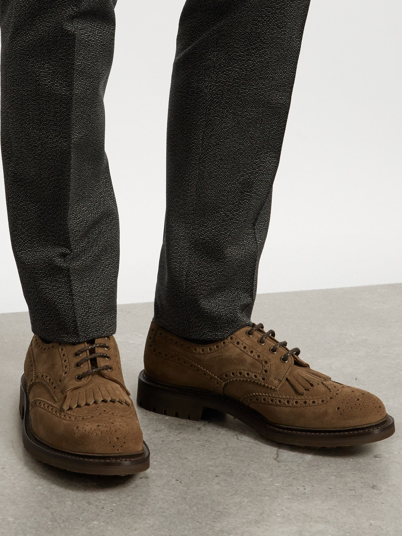 Lyst Church S Plowden Suede Brogues In Gray For Men