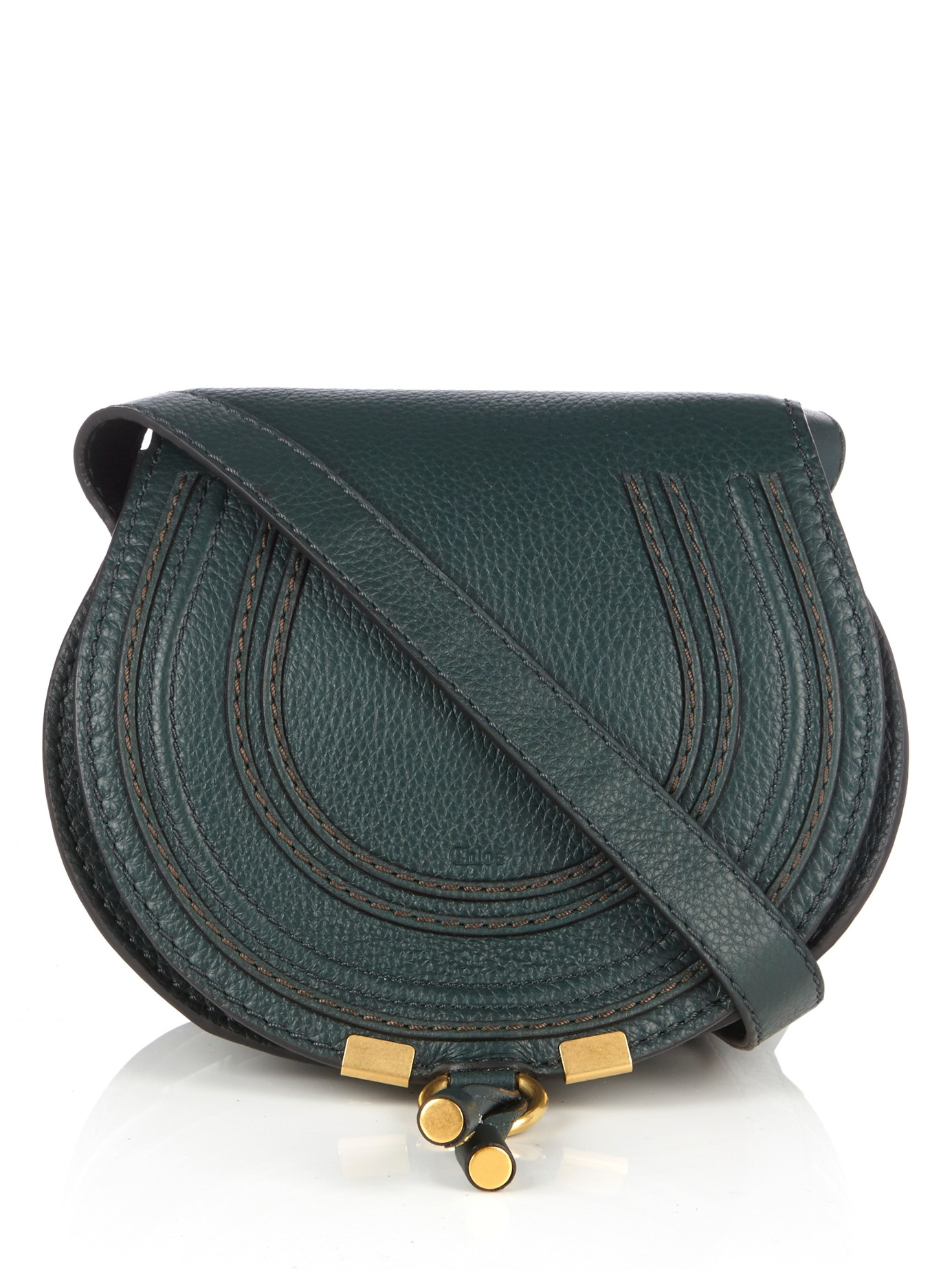 88790208996e Lyst - Chloé Marcie Small Leather Cross-body Bag in Green