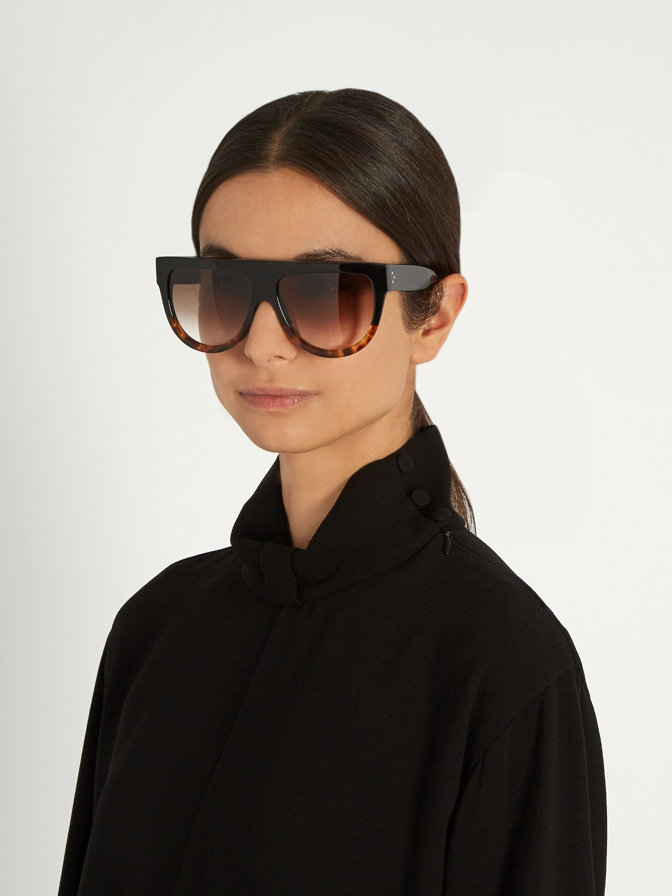 C 233 Line D Frame Flat Top Sunglasses In Black Lyst