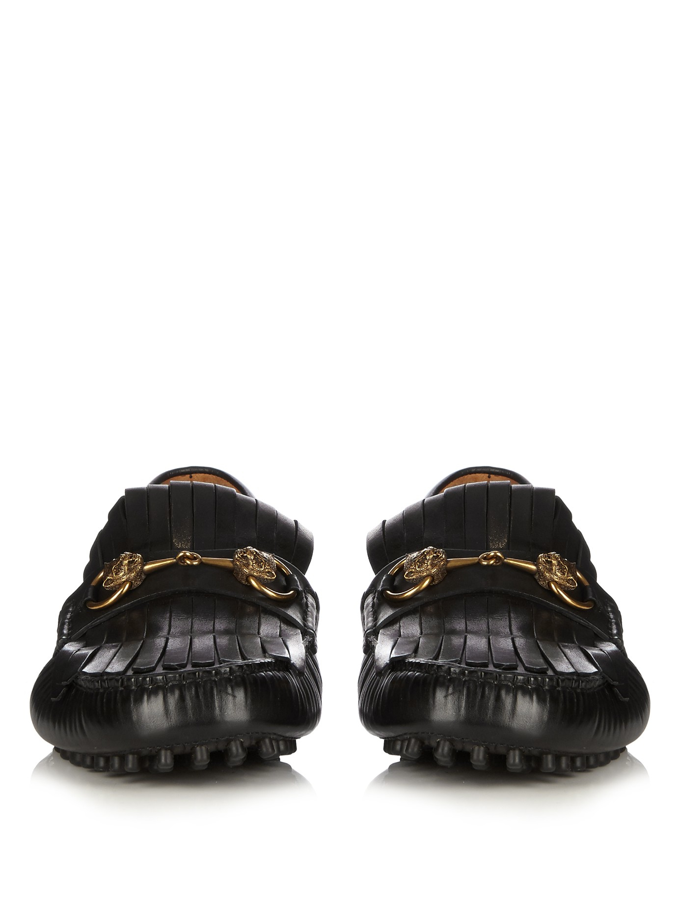 b50af0f9e5f Lyst - Gucci Road Jump Fringed Leather Loafers in Black for Men