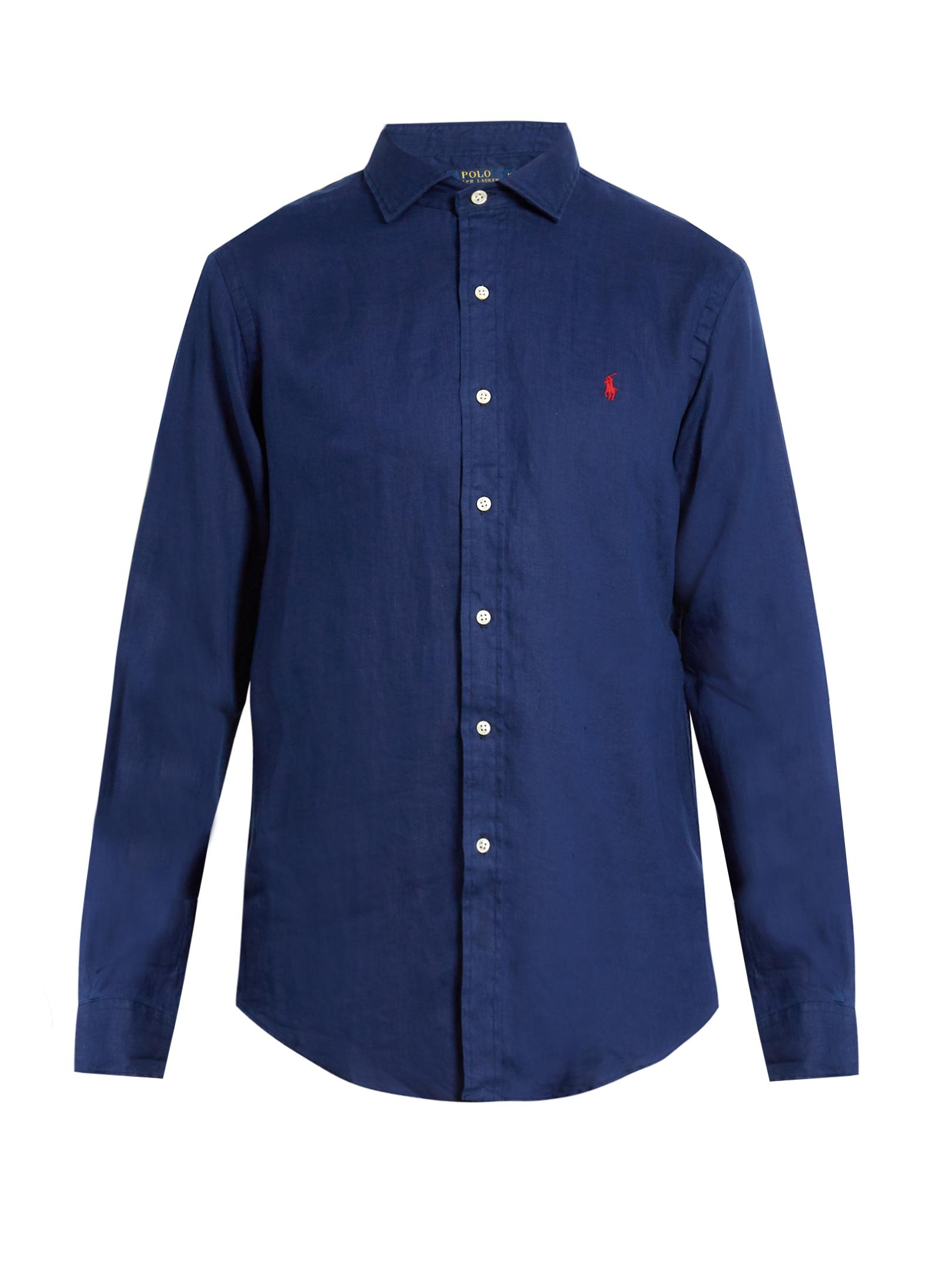 Polo ralph lauren spread collar linen shirt in blue for for Men s spread collar shirts